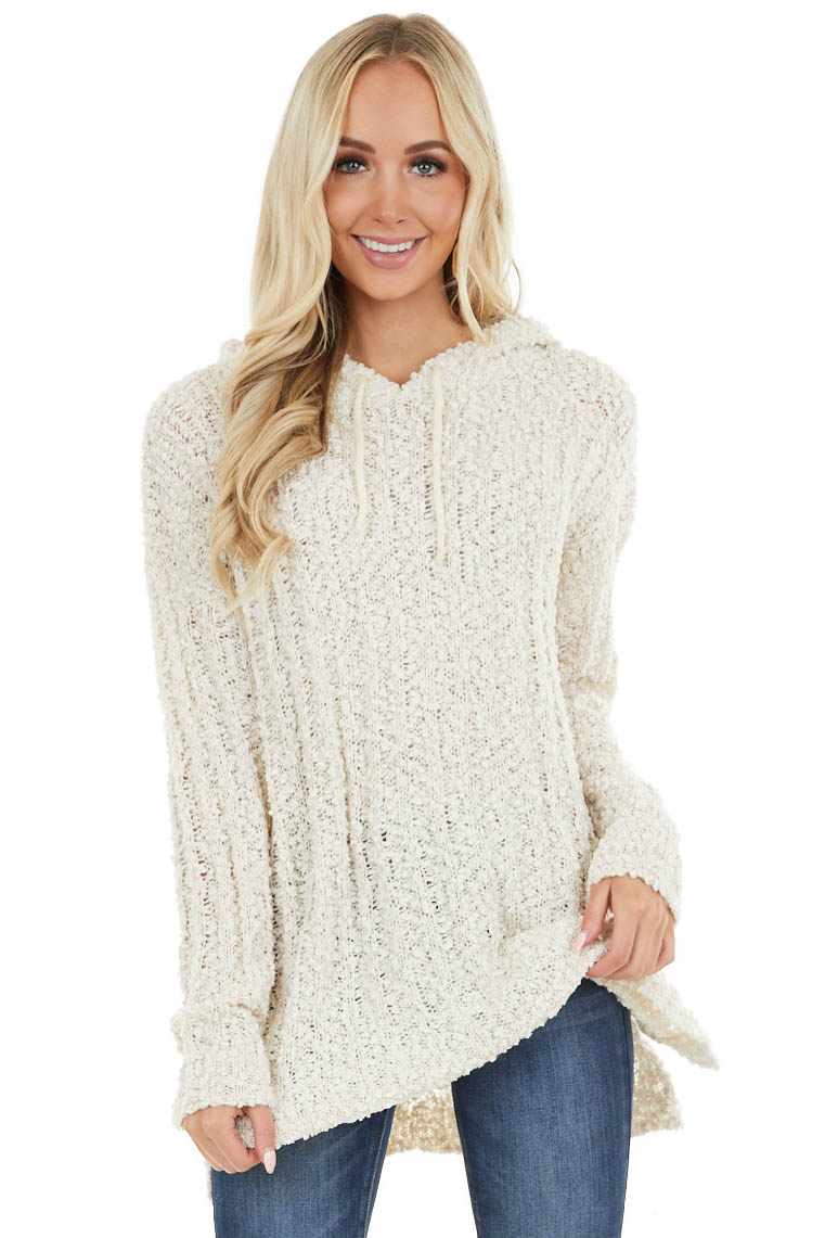 Cream Loose Knit Soft Long Sleeve Hoodie with Drawstrings