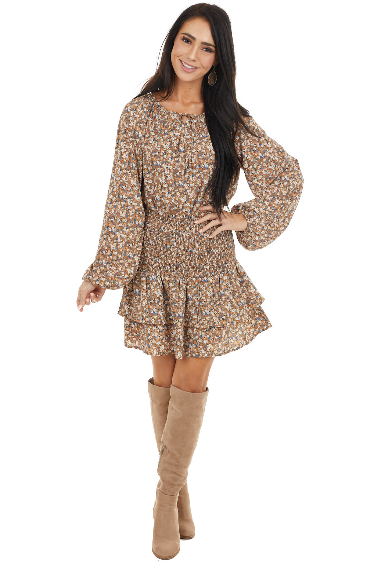 Cognac Floral Long Sleeve Top and Smocked Tiered Skirt Set
