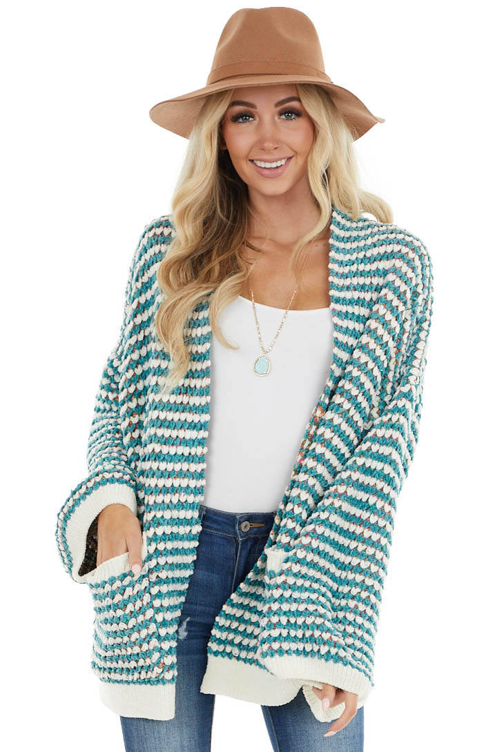 Cream and Pine Chenille Cardigan with Rainbow Interior