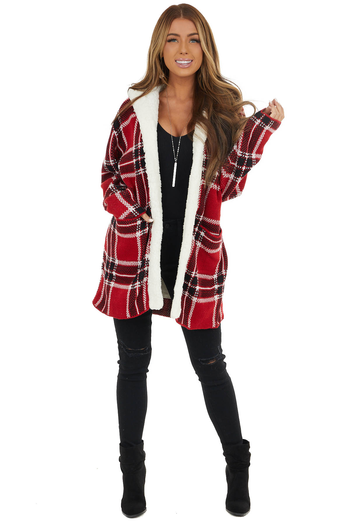 Cranberry Red Plaid Faux Fur Lined Hooded Jacket