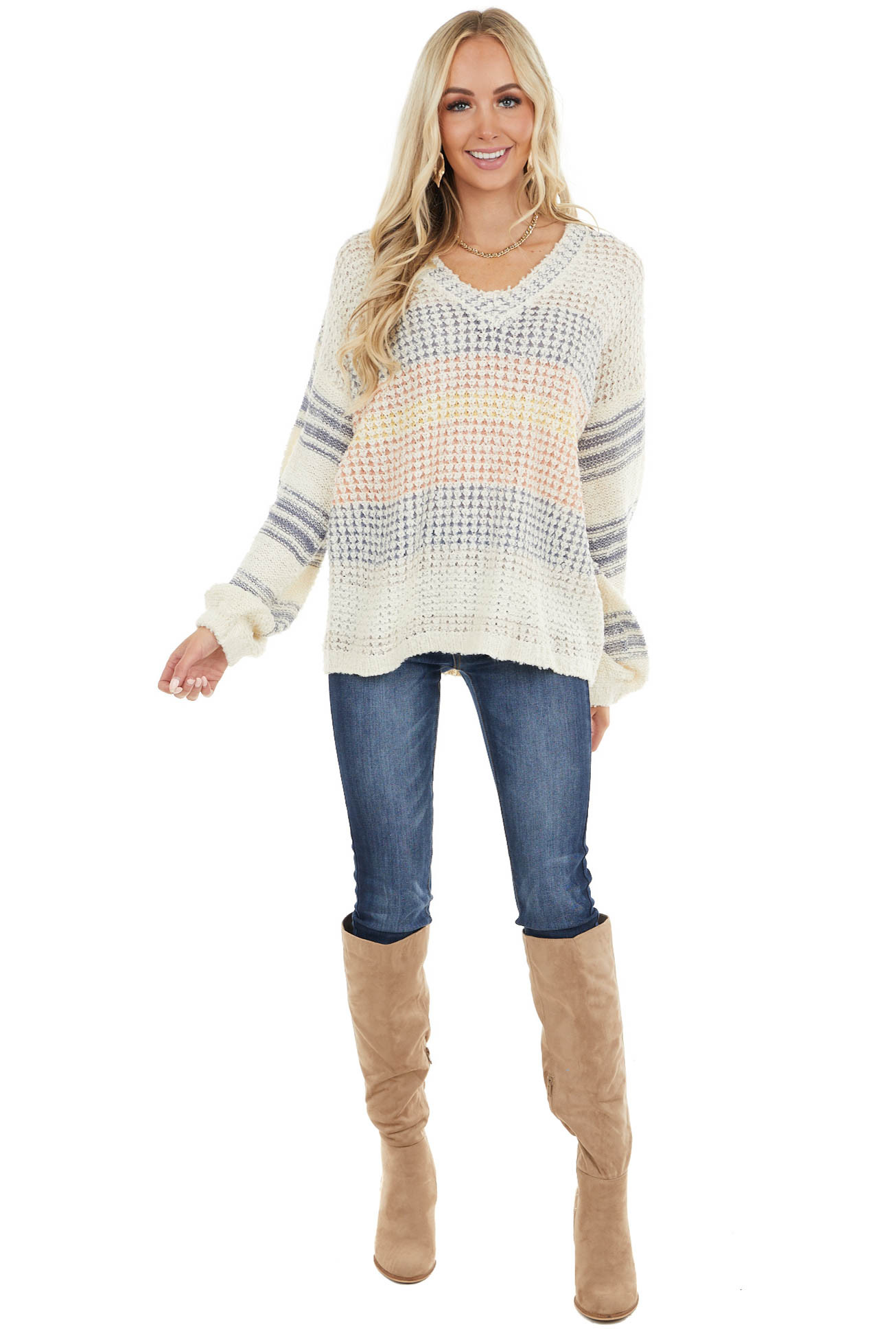 Cream Oversize Long Sleeve Sweater with Multicolor Stripes