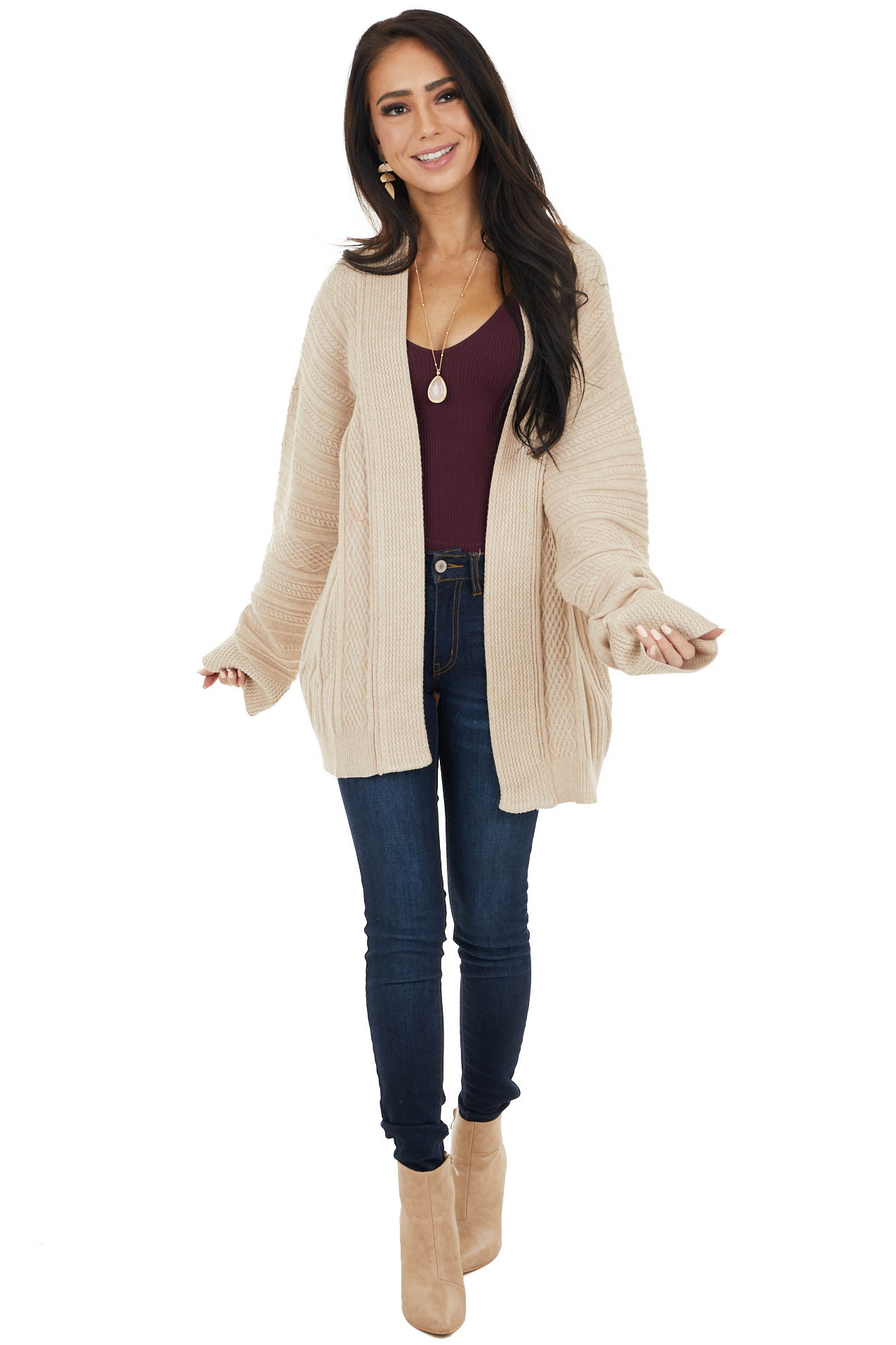 Latte Long Sleeve Open Front Textured Knit Cardigan