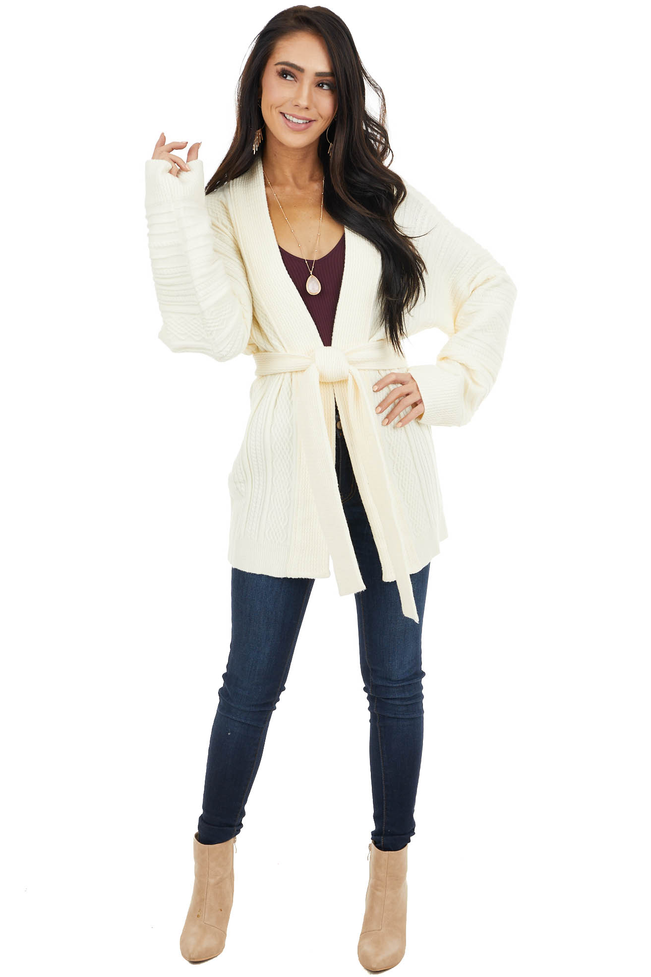 Cream Long Sleeve Open Front Textured Knit Cardigan