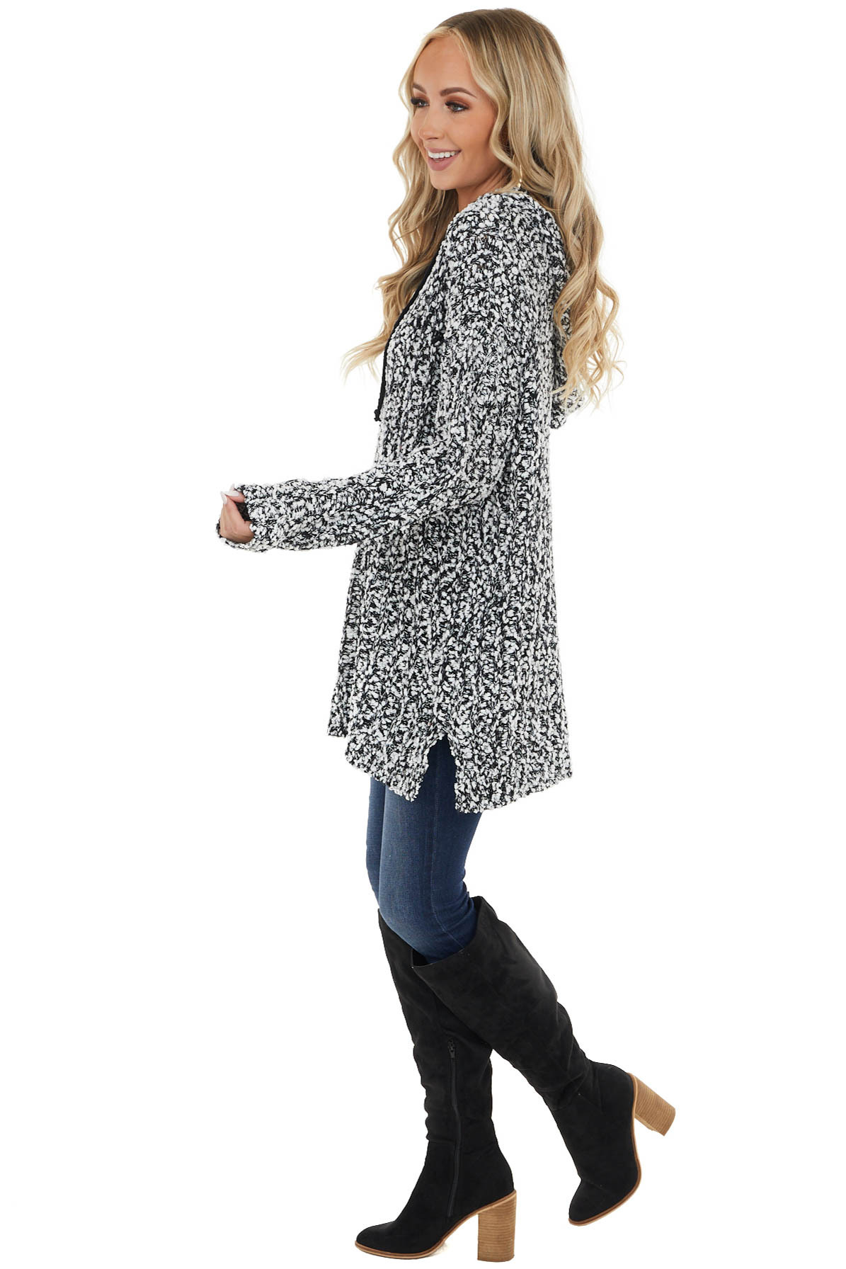 Black and White Loose Knit Soft Long Sleeve Hoodie