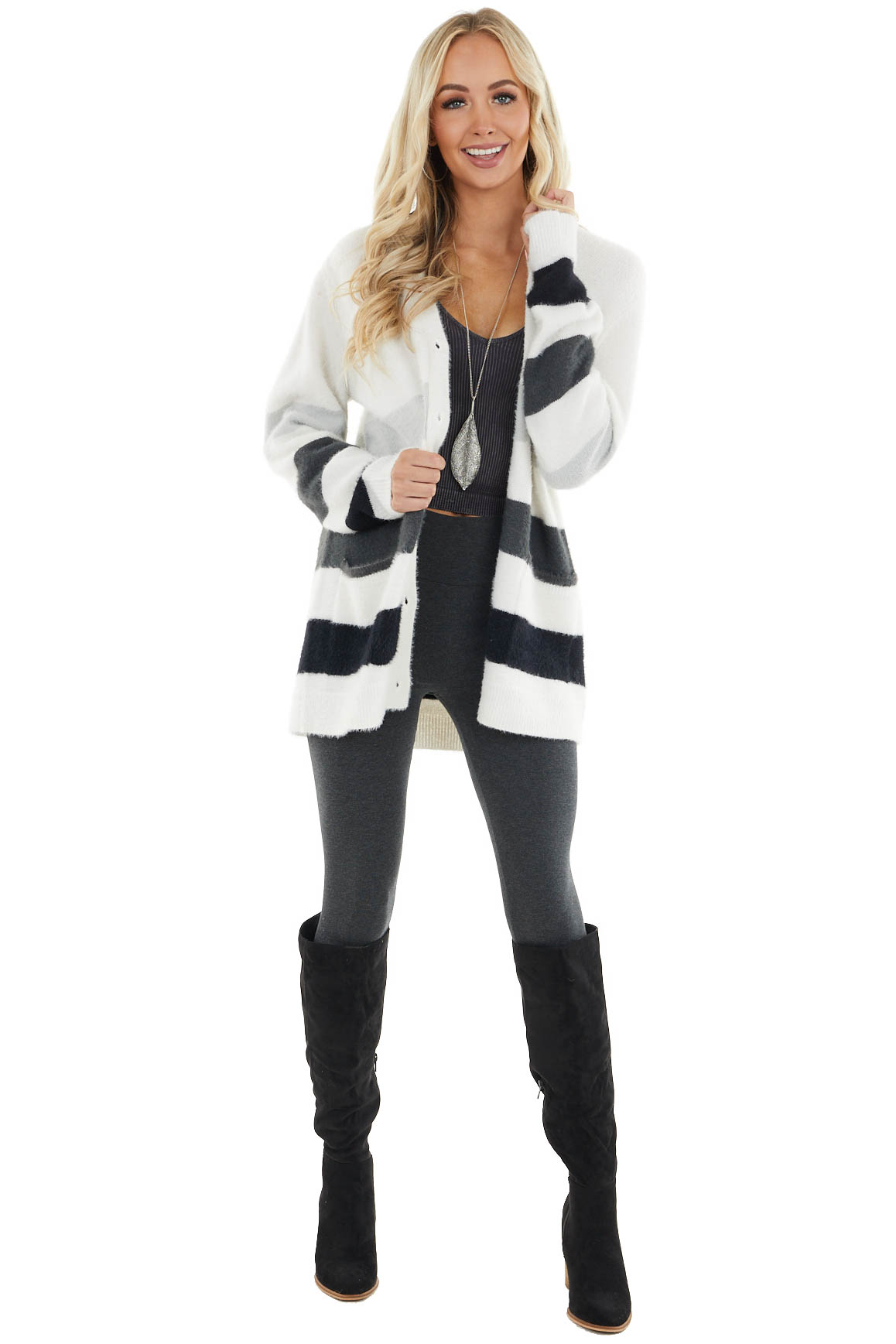 Ivory Long Sleeve Striped Button up Cardigan with Pockets