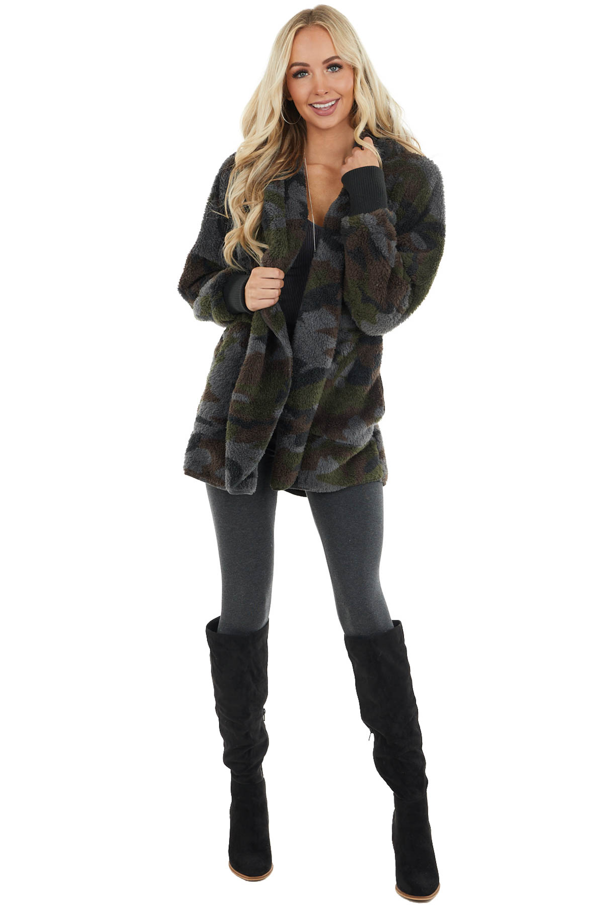 Forest Green Camo Faux Fur Cardigan with Hood and Pockets
