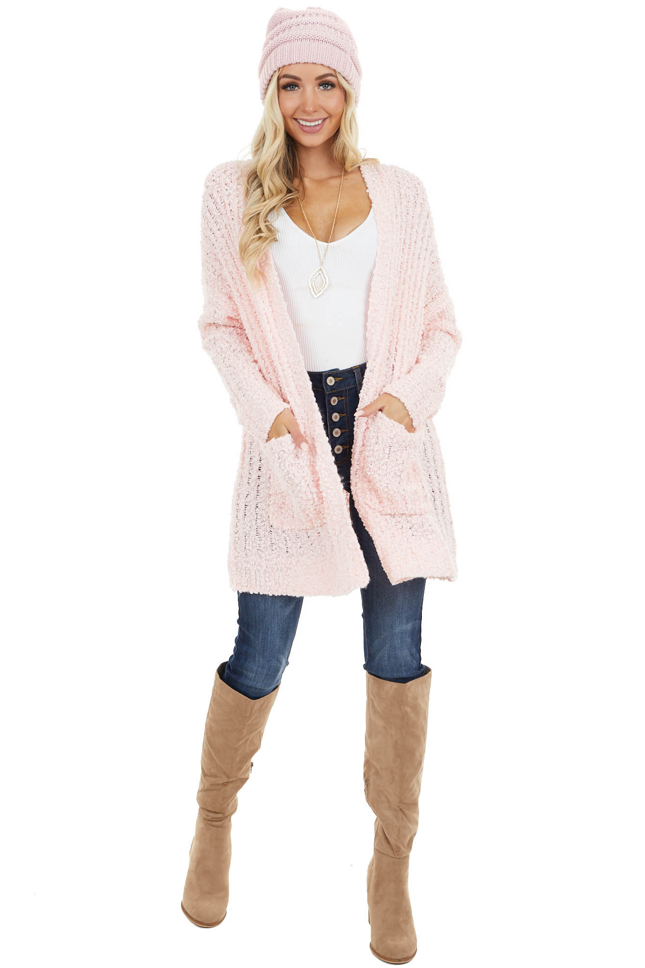 Blush Popcorn Knit Open Front Cardigan with Pockets