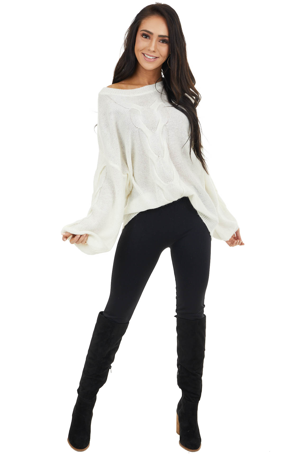 Ivory Long Bubble Sleeve Sweater with Textured Details