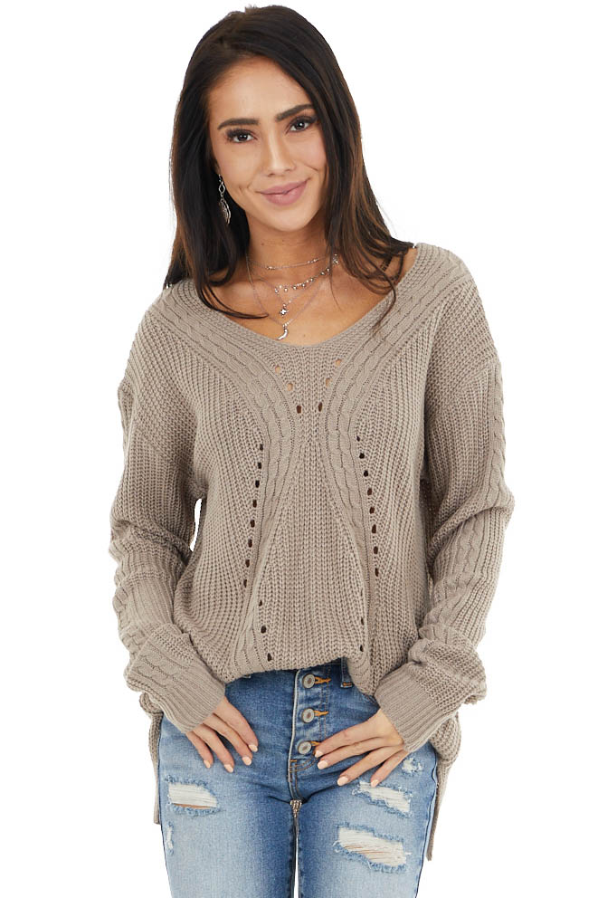 Taupe Long Sleeve Lightweight Knit Sweater