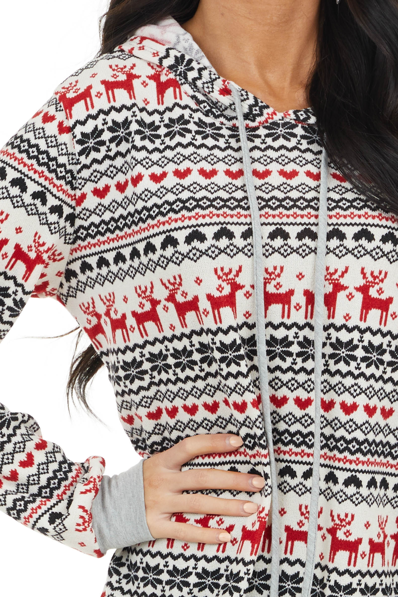 Crimson Red Holiday Print Knit Hoodie Top with Drawstrings