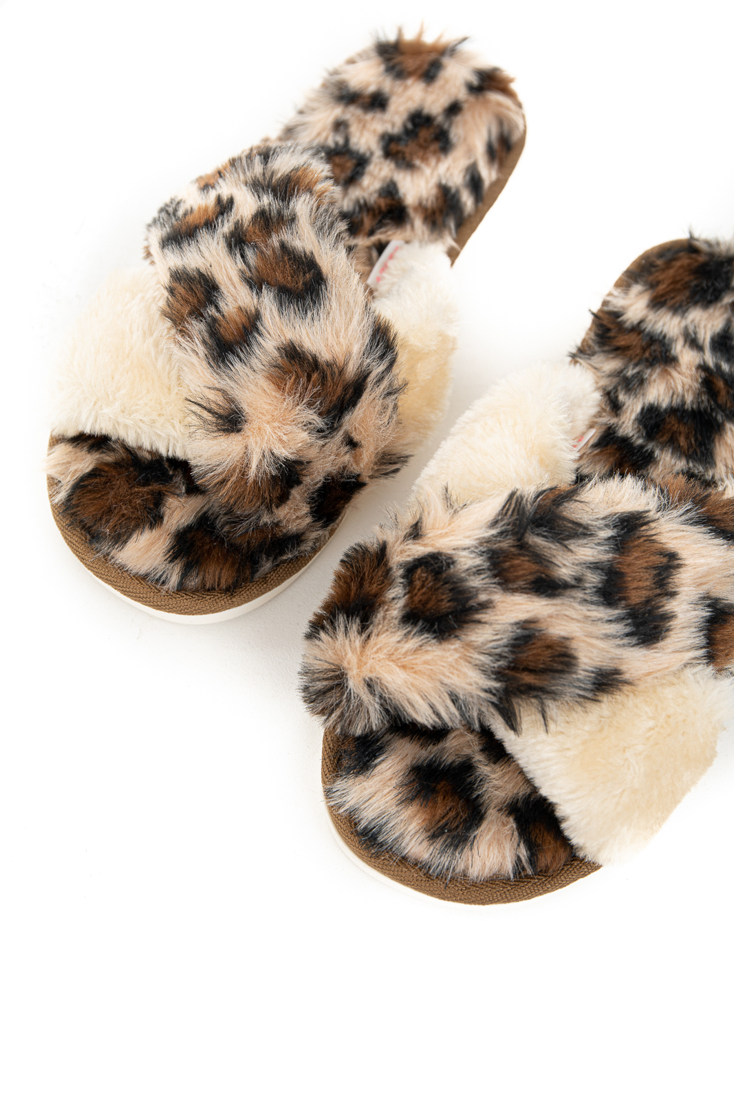 Beige Leopard Print Slippers with Cream Contrast Strap