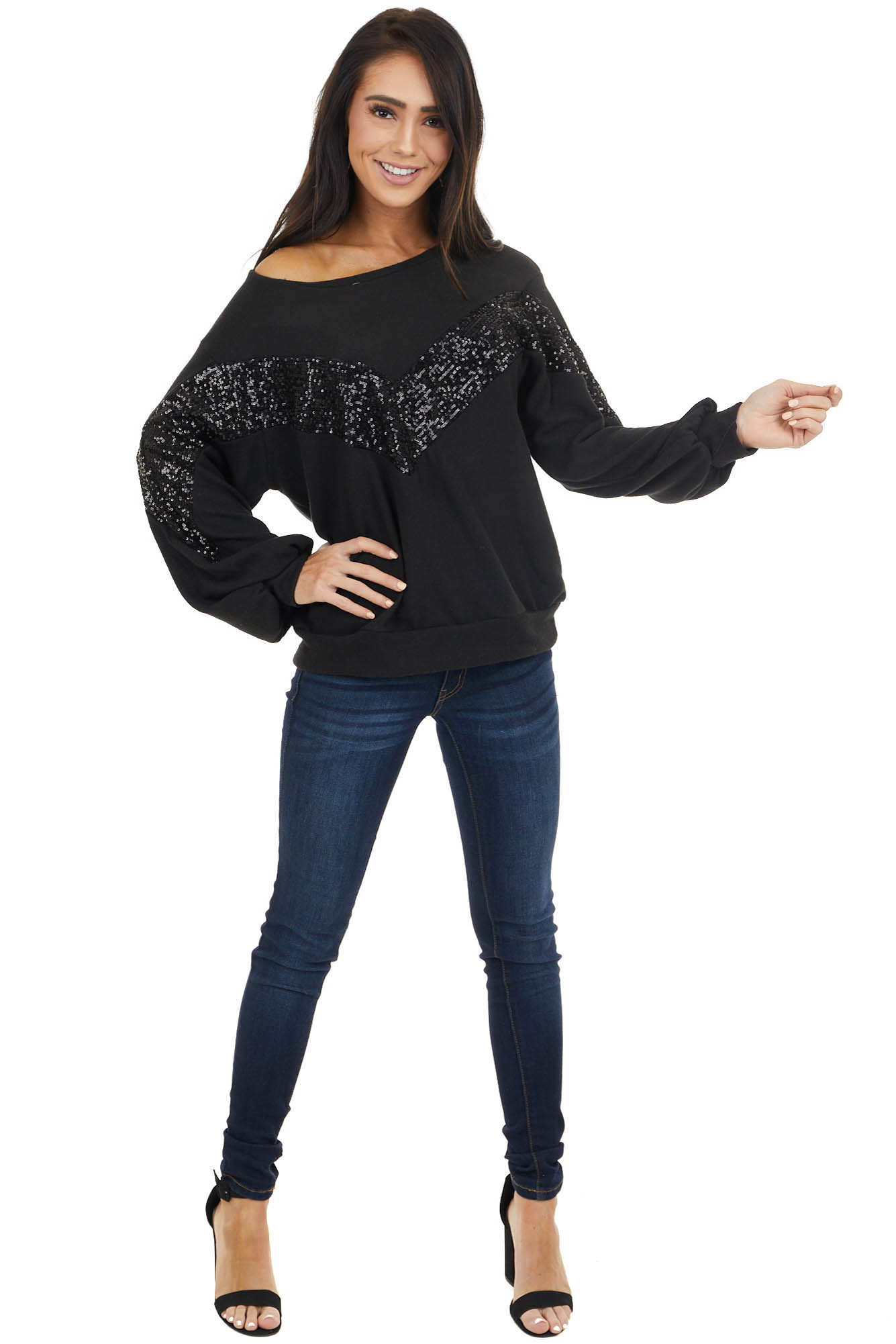 Black Long Sleeve Top with Chevron Shaped Sequin Pattern