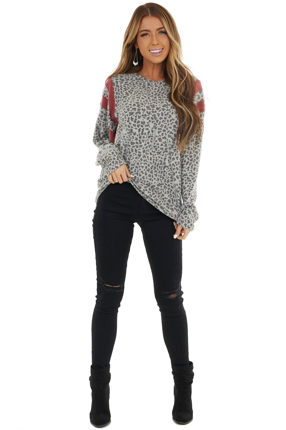 Heather Grey Leopard Print Top with Marsala Stripe Contrasts