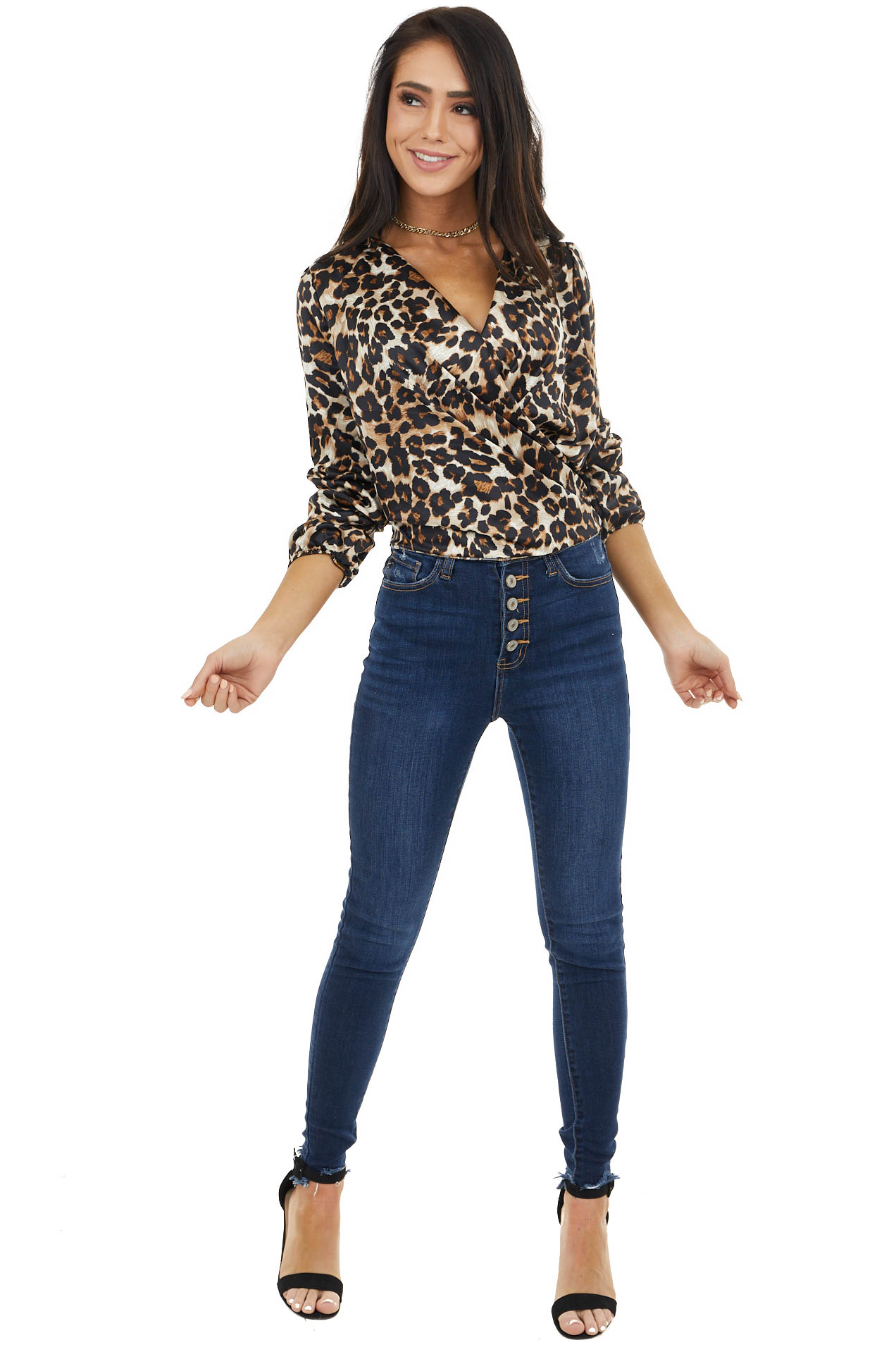 Camel and Latte Leopard Print Silky Surplice Blouse with Tie