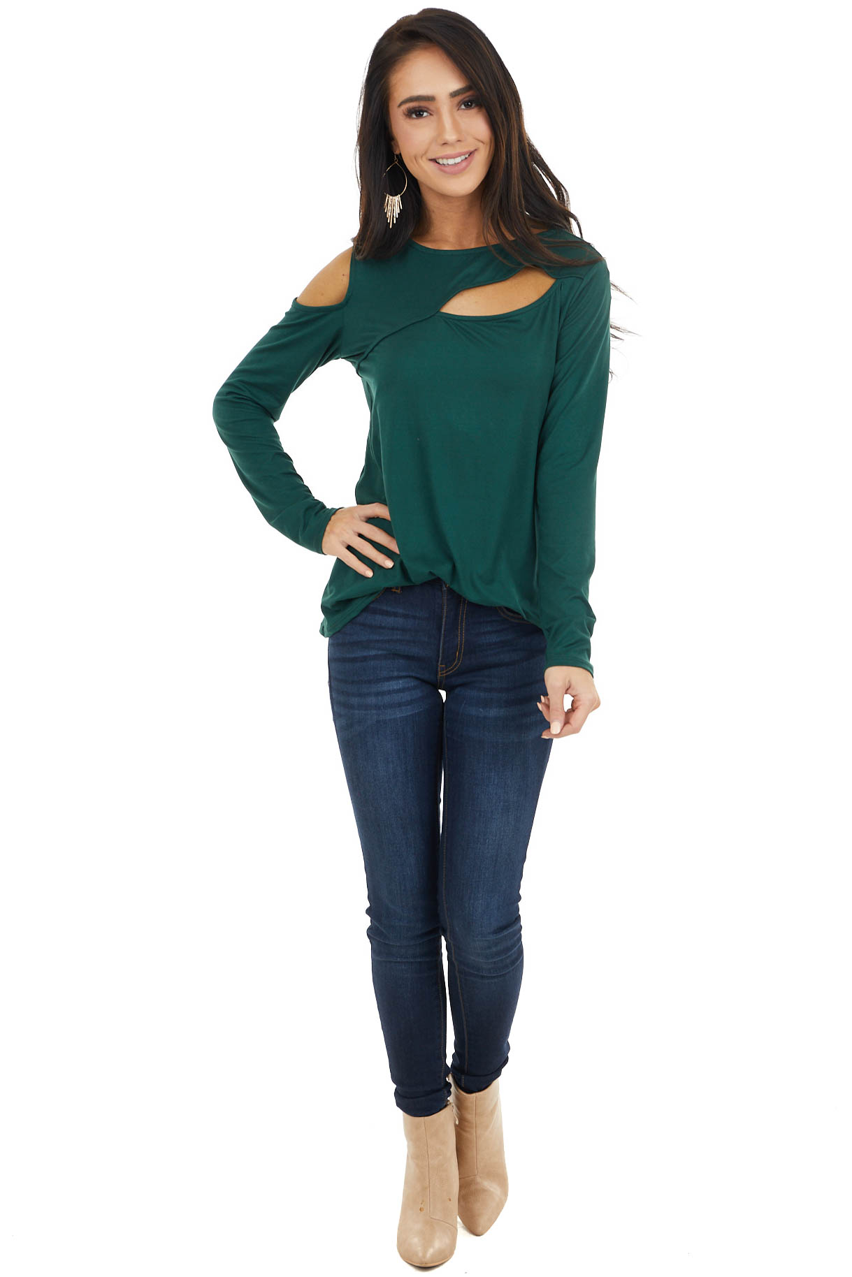 Forest Green One Cold Shoulder Top with Chest Cutout Detail