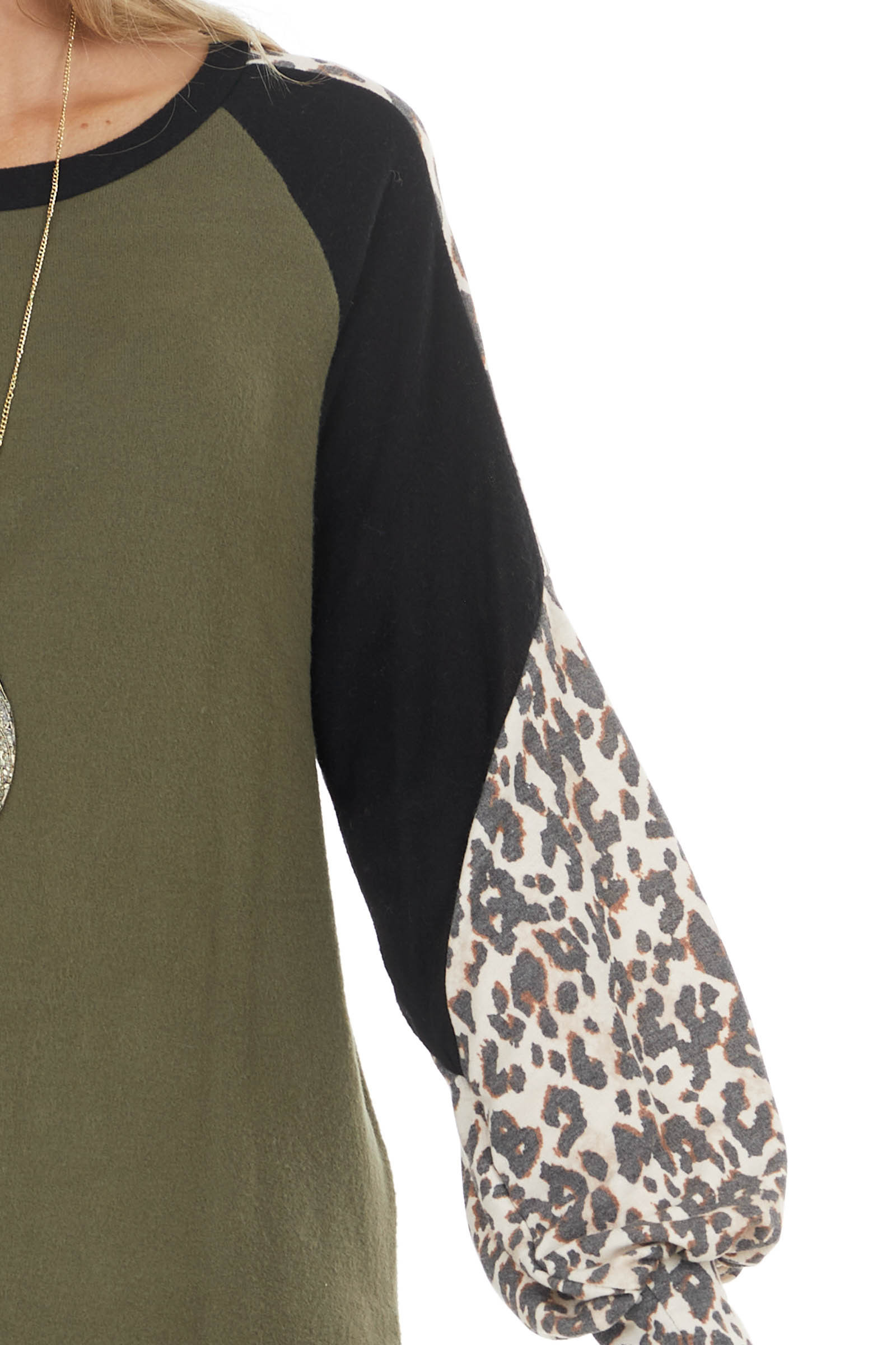 Olive Leopard Print Colorblock Long Sleeve Loose Fit Top