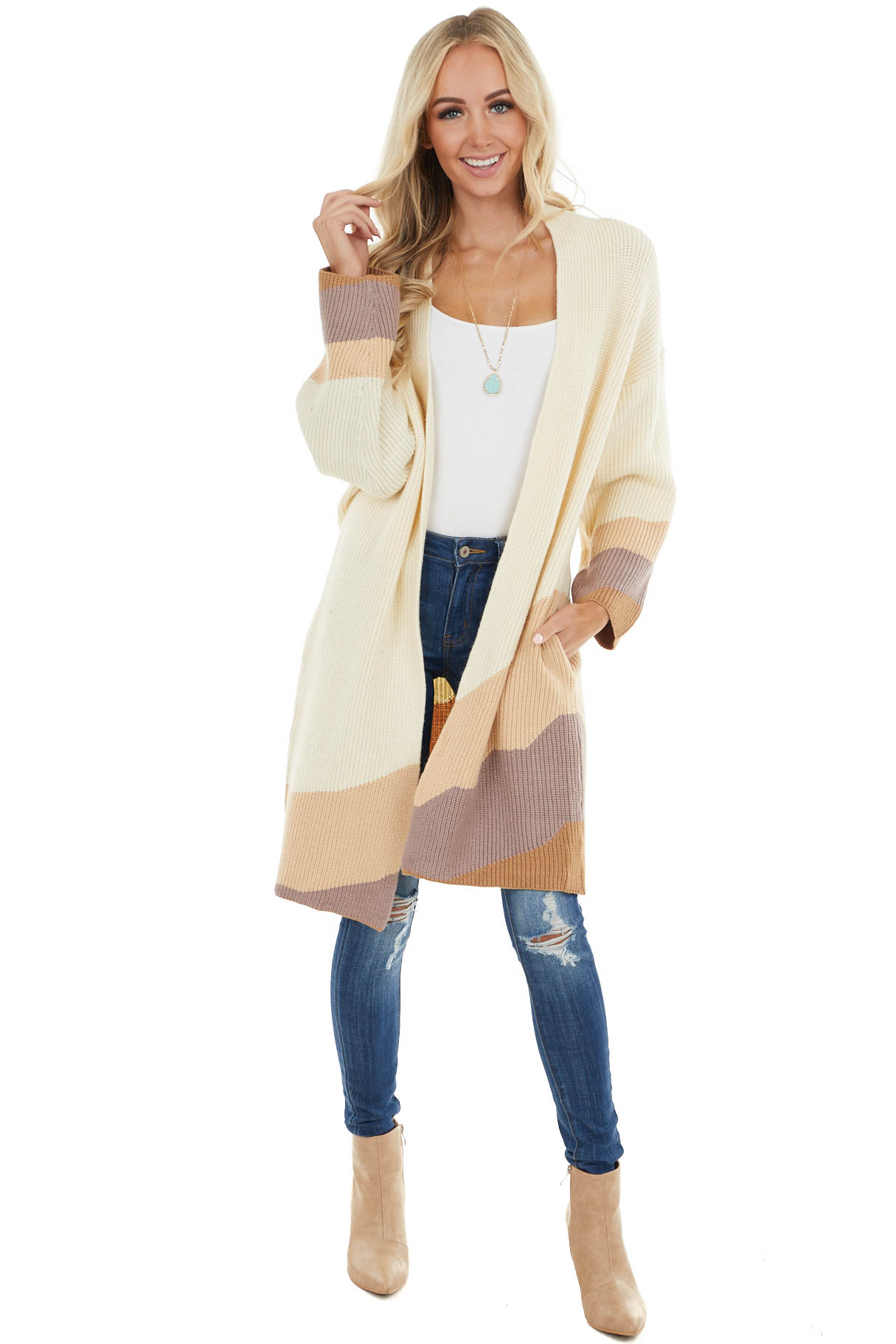 Cream Colorblock Long Sleeve Knit Cardigan with Side Pockets