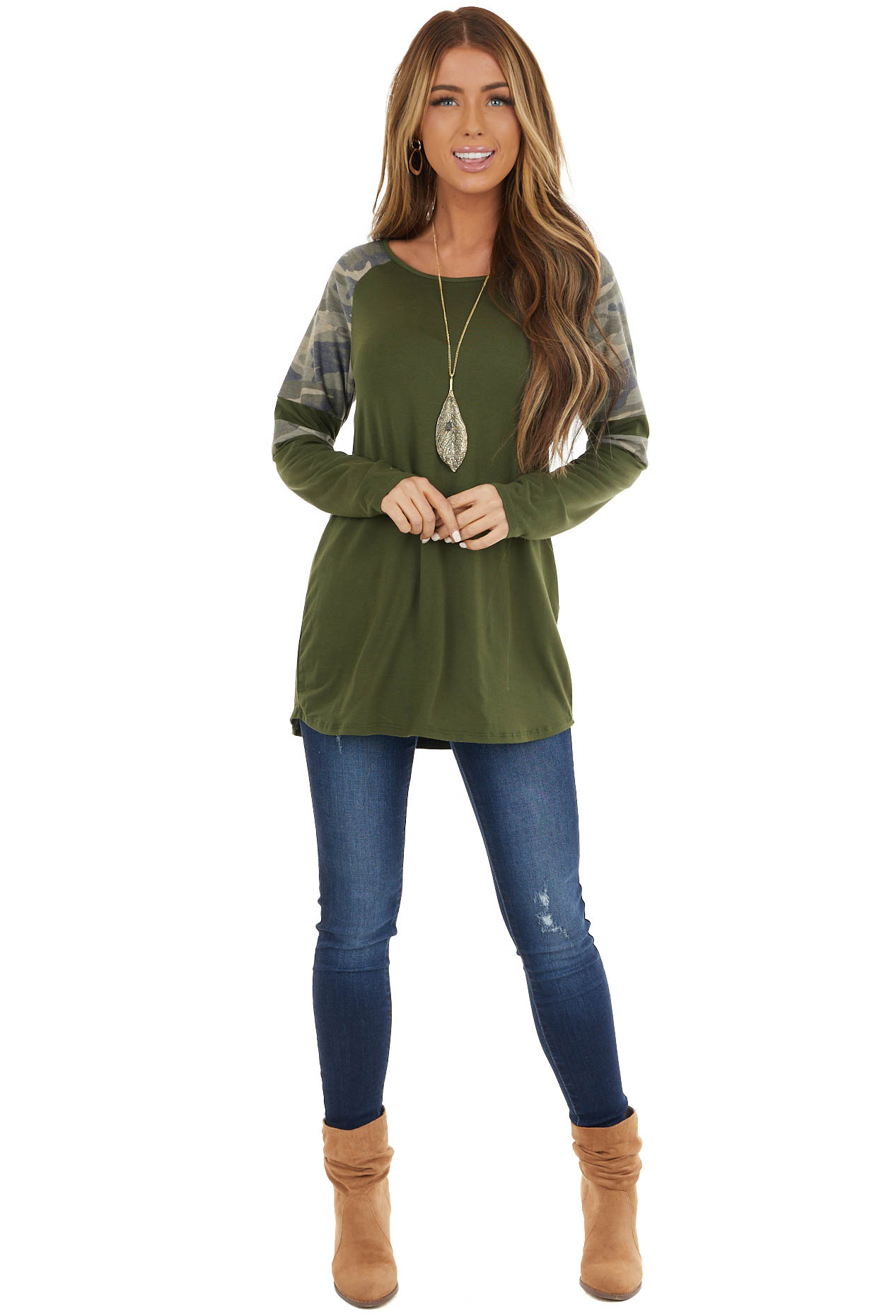 Olive Stretchy Knit Top with Raglan Camo Print Sleeves