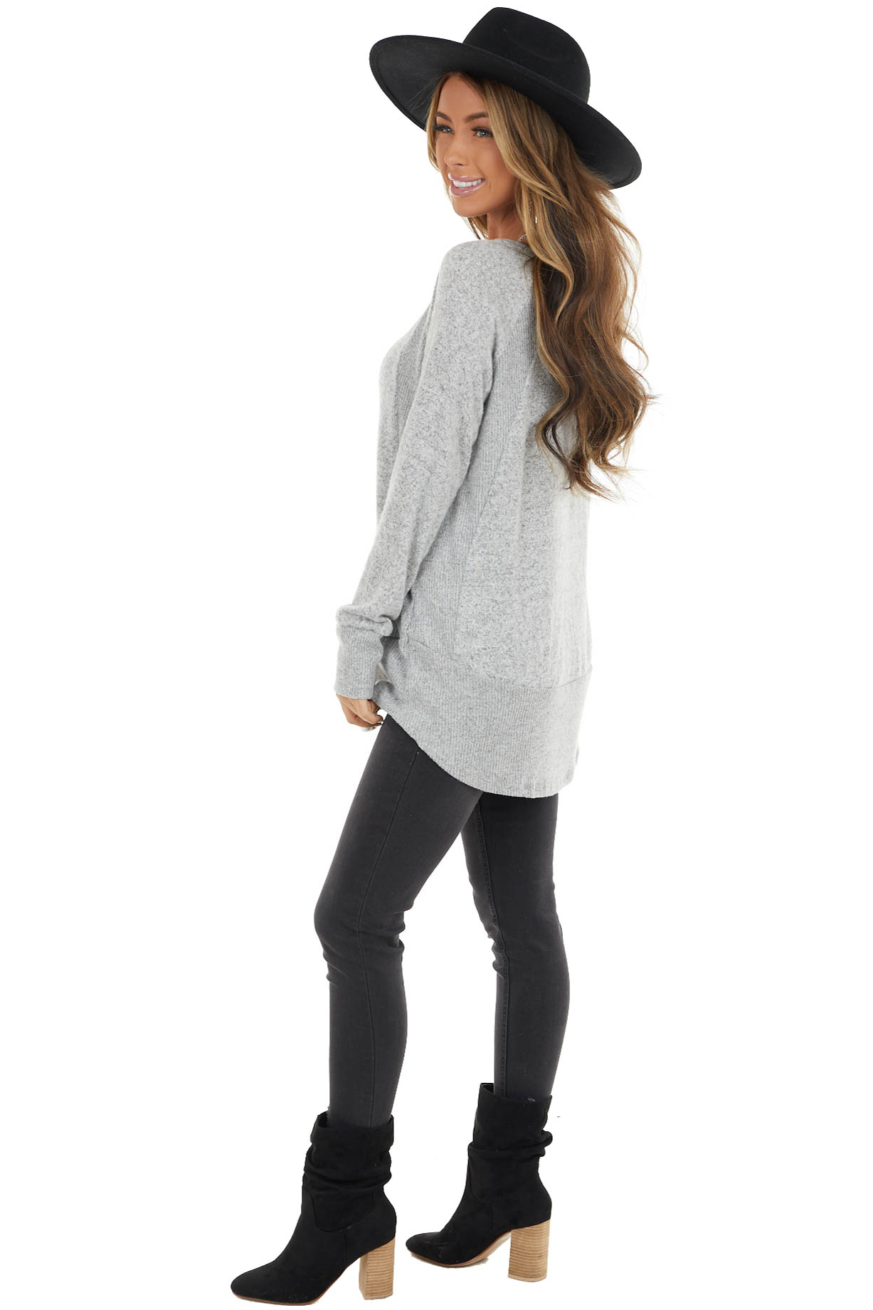 Dove Grey Long Sleeve Stretchy Knit Top with Ribbed Details