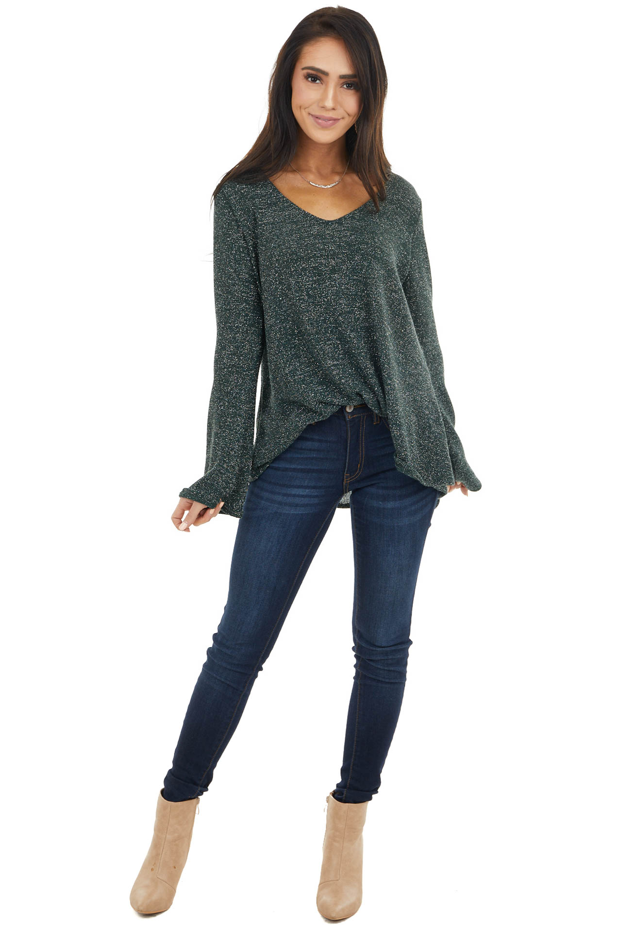 Dark Green Long Sleeve Top with Silver Thread Details