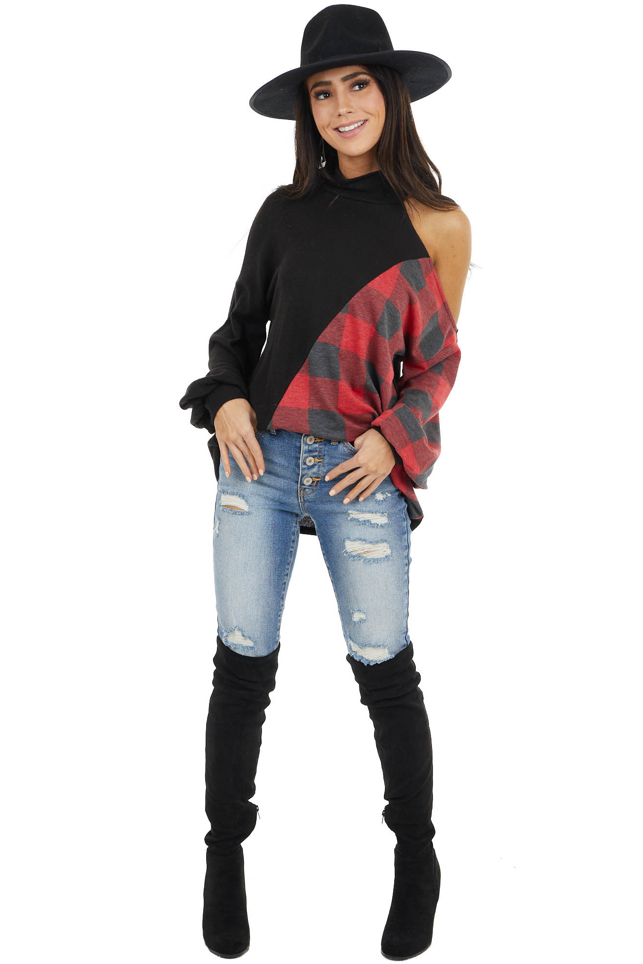 Black Cold Shoulder Long Sleeve Top with Plaid Contrast