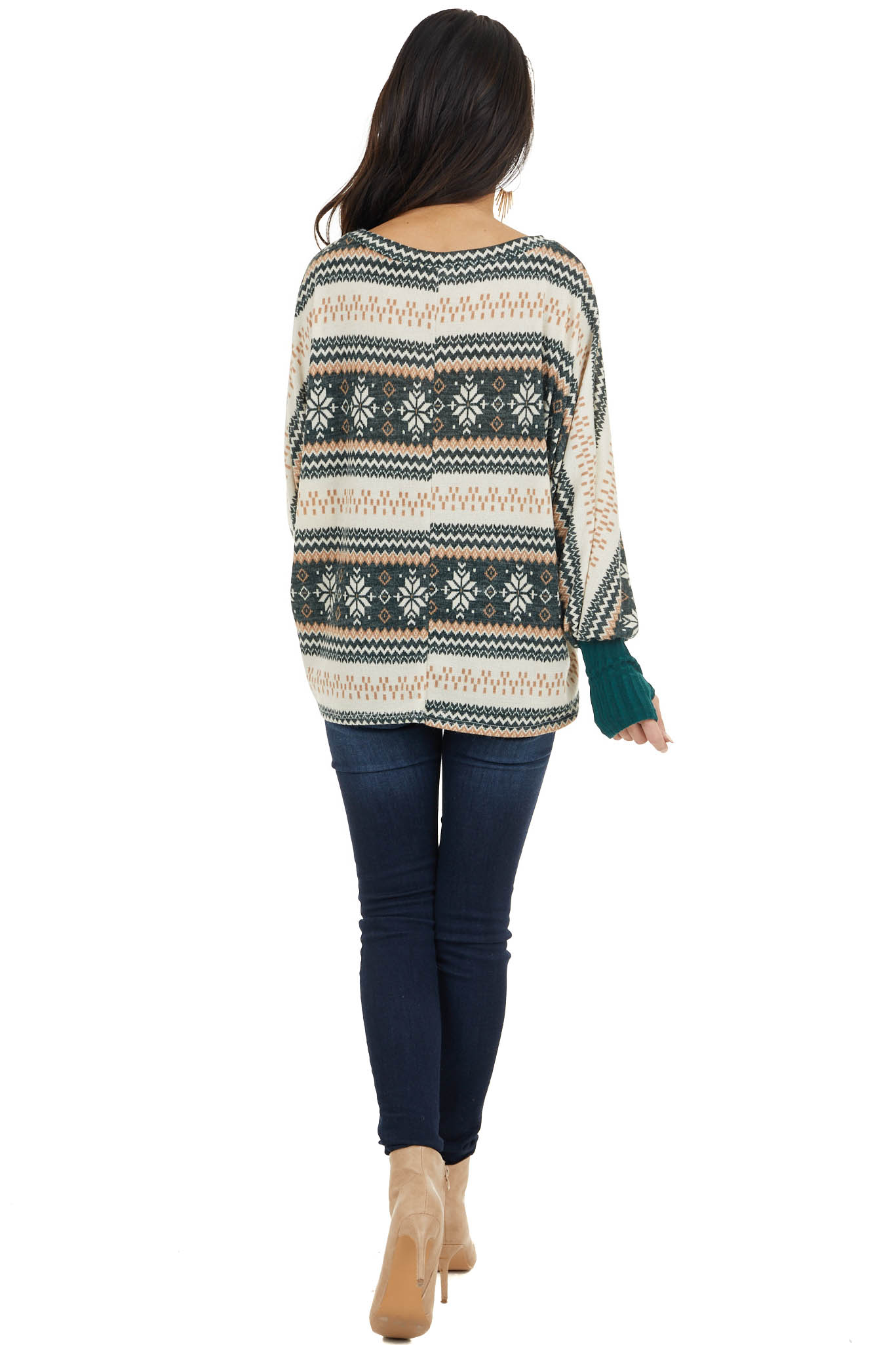 Hunter Green Holiday Print Knit Top with Long Dolman Sleeves