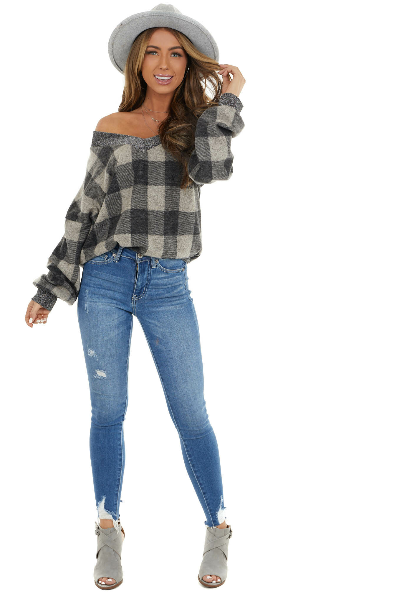 Charcoal and Oatmeal Plaid Top with Silver Thread Contrasts