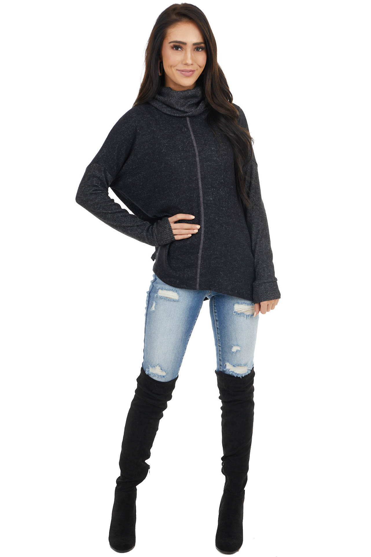 Black Cowl Neck Knit Top with Long Sleeves and Ribbed Detail