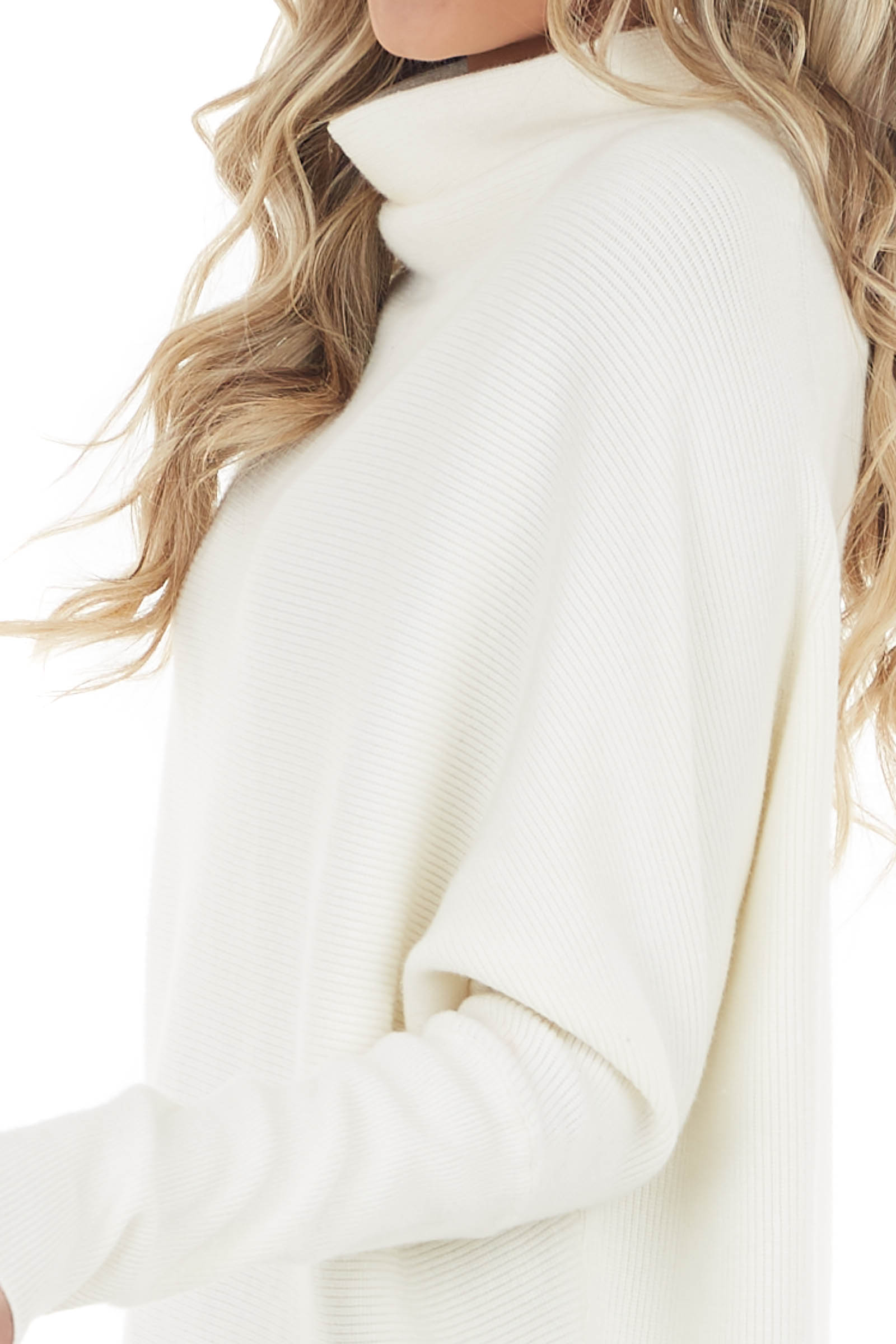 Cream High Neck Pullover Sweater with Long Dolman Sleeves