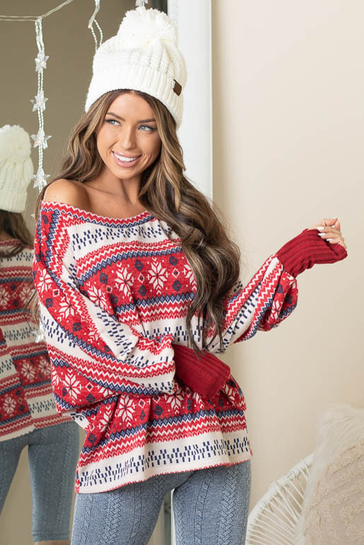 Cherry Red Holiday Print Knit Top with Long Dolman Sleeves
