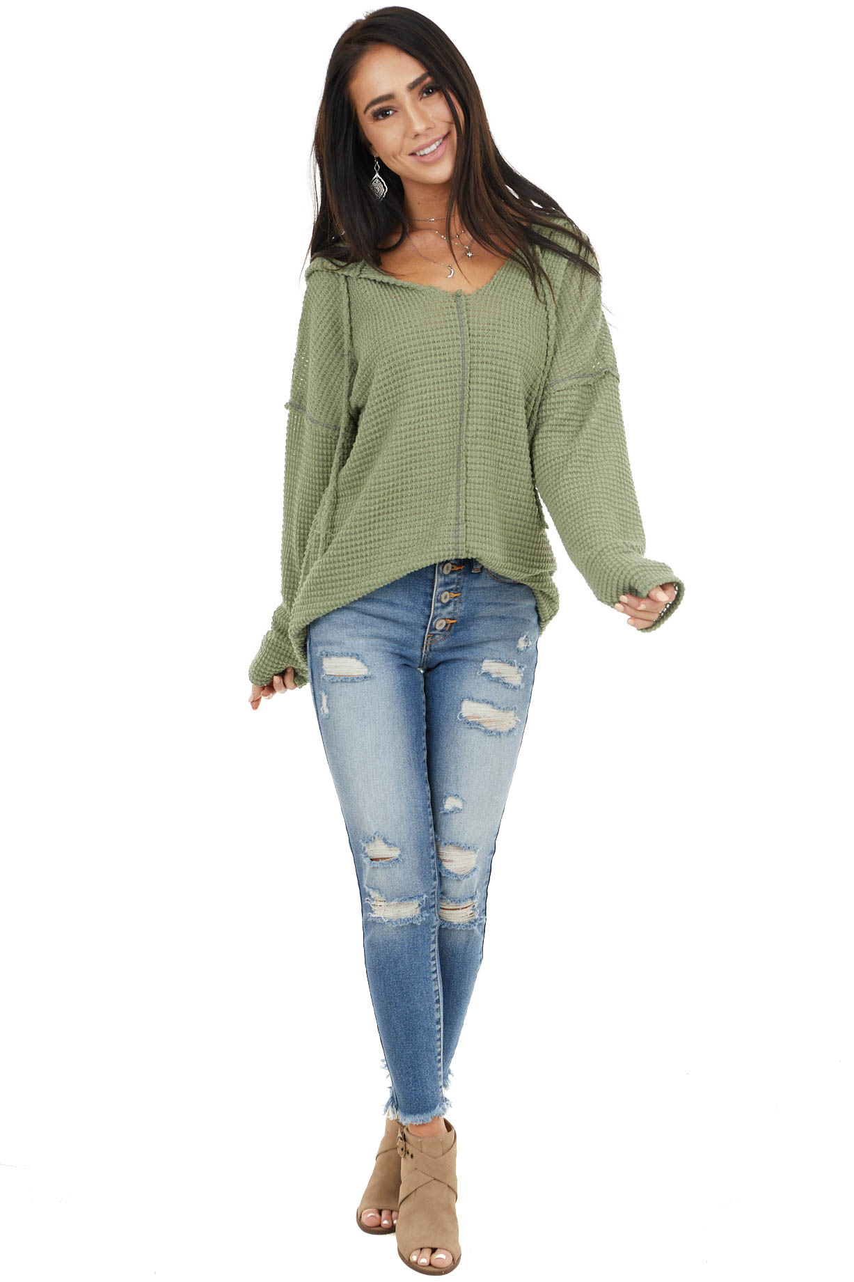 Pistachio Stretchy Waffle Knit Top with Drawstring Hood