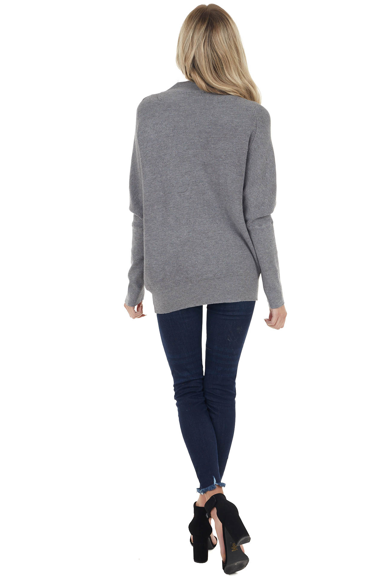 Charcoal High Neck Pullover Sweater with Long Dolman Sleeves