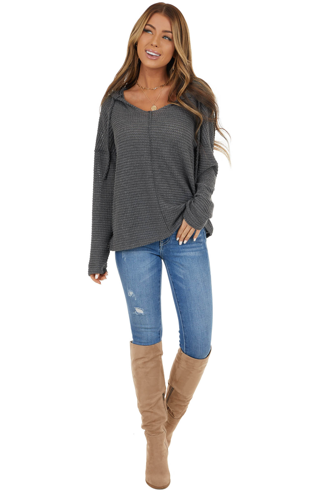 Charcoal Stretchy Waffle Knit Top with Drawstring Hood