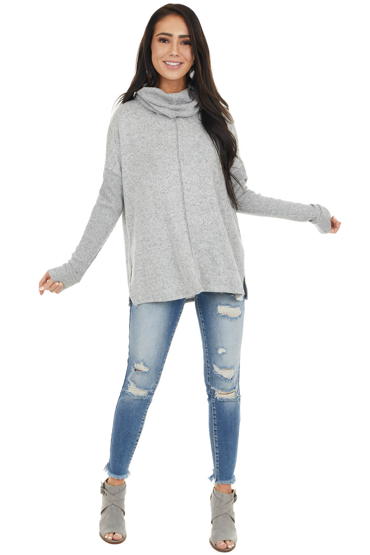 Heather Grey Cowl Neck Long Sleeve Top with Ribbed Detail