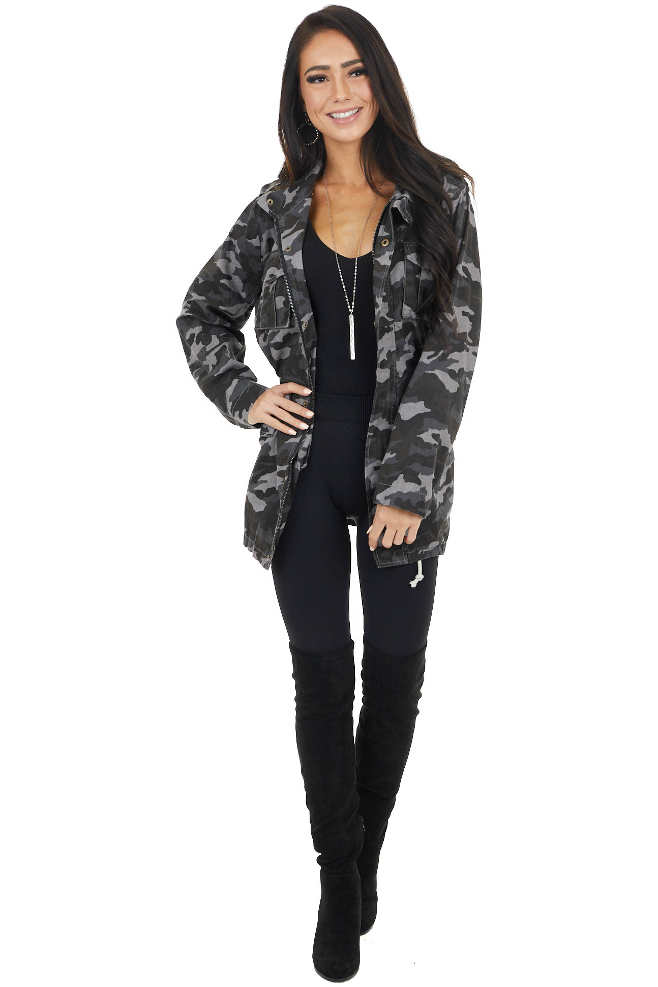 Charcoal Grey Camo Print Cargo Jacket with Pockets
