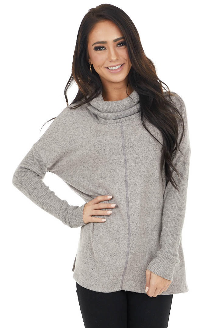 Vintage Taupe Cowl Neck Long Sleeve Top with Ribbed Detail