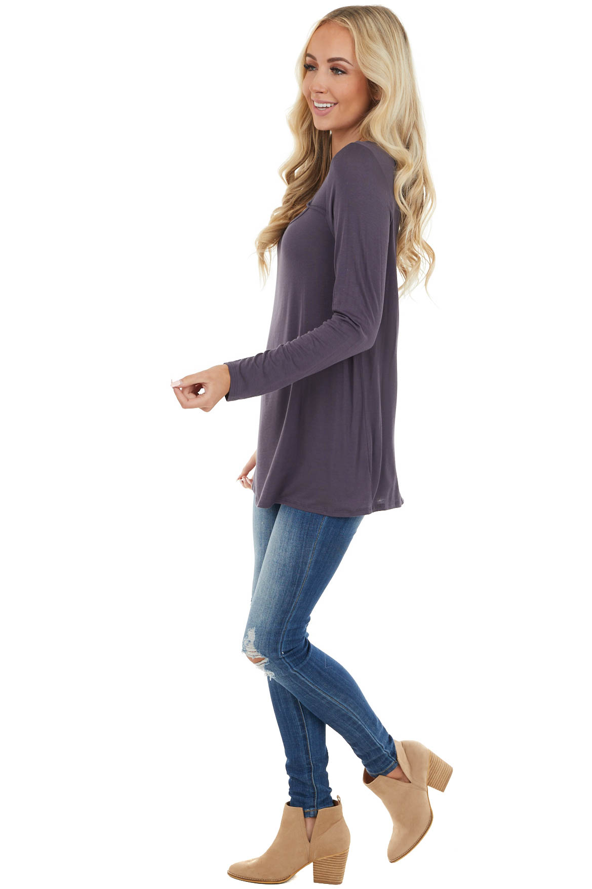 Dusty Blue Soft Stretchy Long Sleeve Top with Chest Cutout