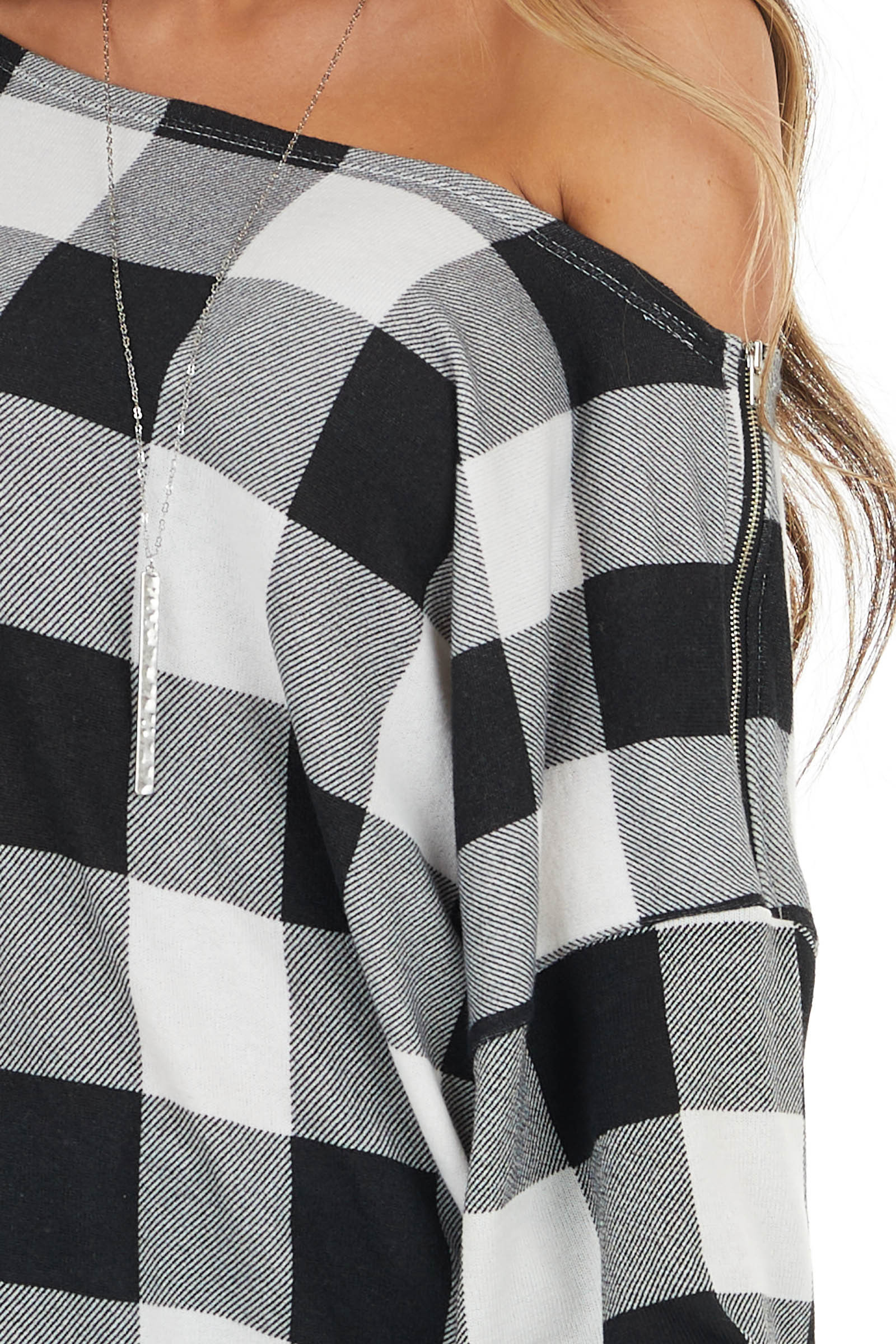 Black and Ivory Buffalo Plaid Top with Zipper Detail