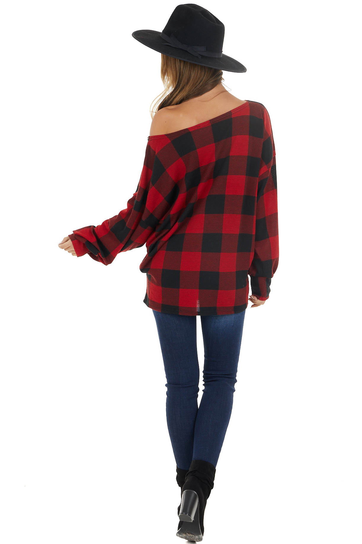 Black and Cherry Red Buffalo Plaid Top with Zipper Detail