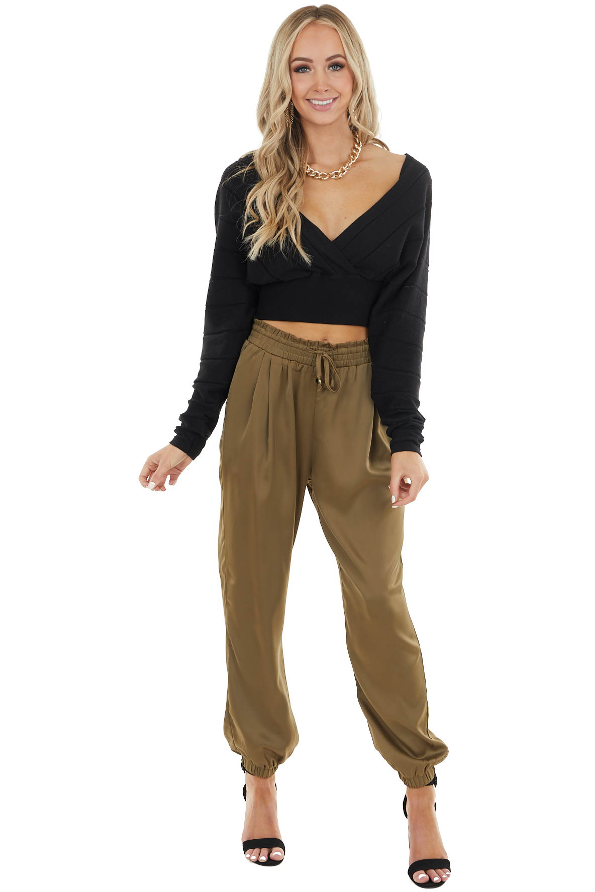 Olive Satin Jogger Pants with Pockets and Drawstring Details