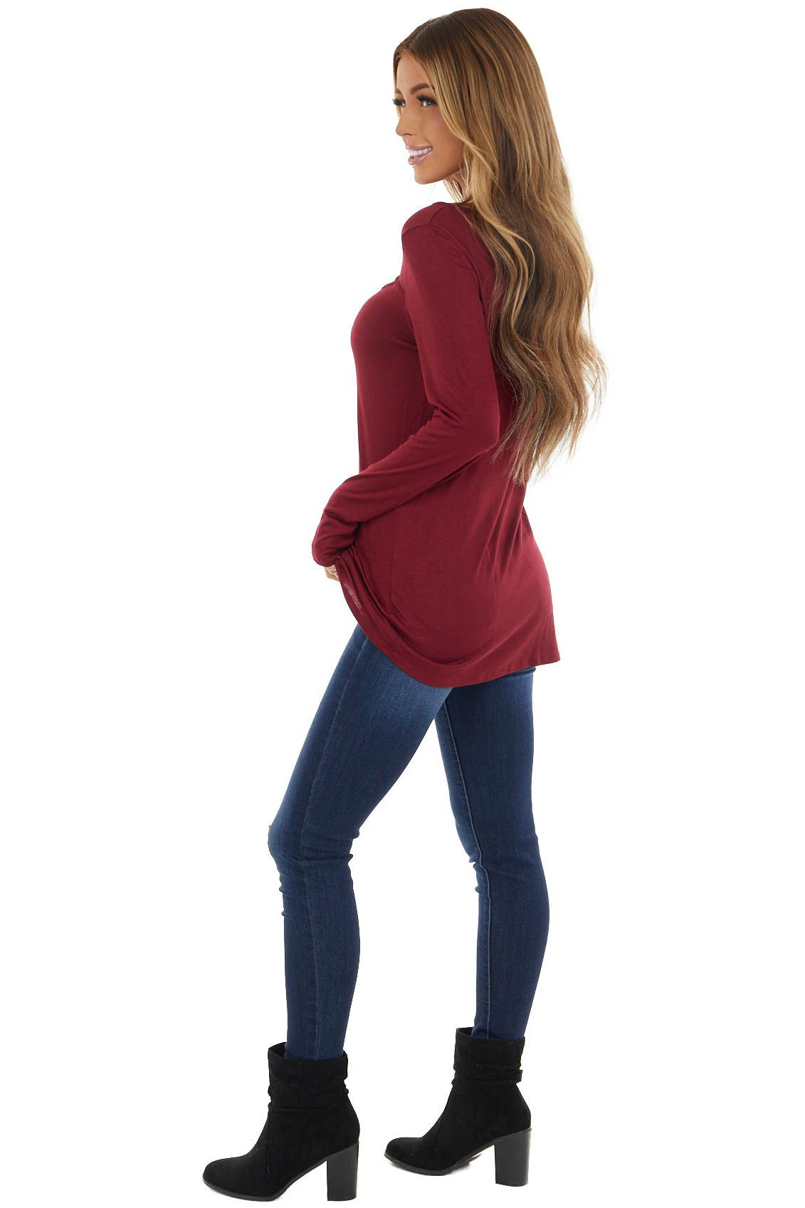 Wine Soft Stretchy Long Sleeve Top with Chest Cutout