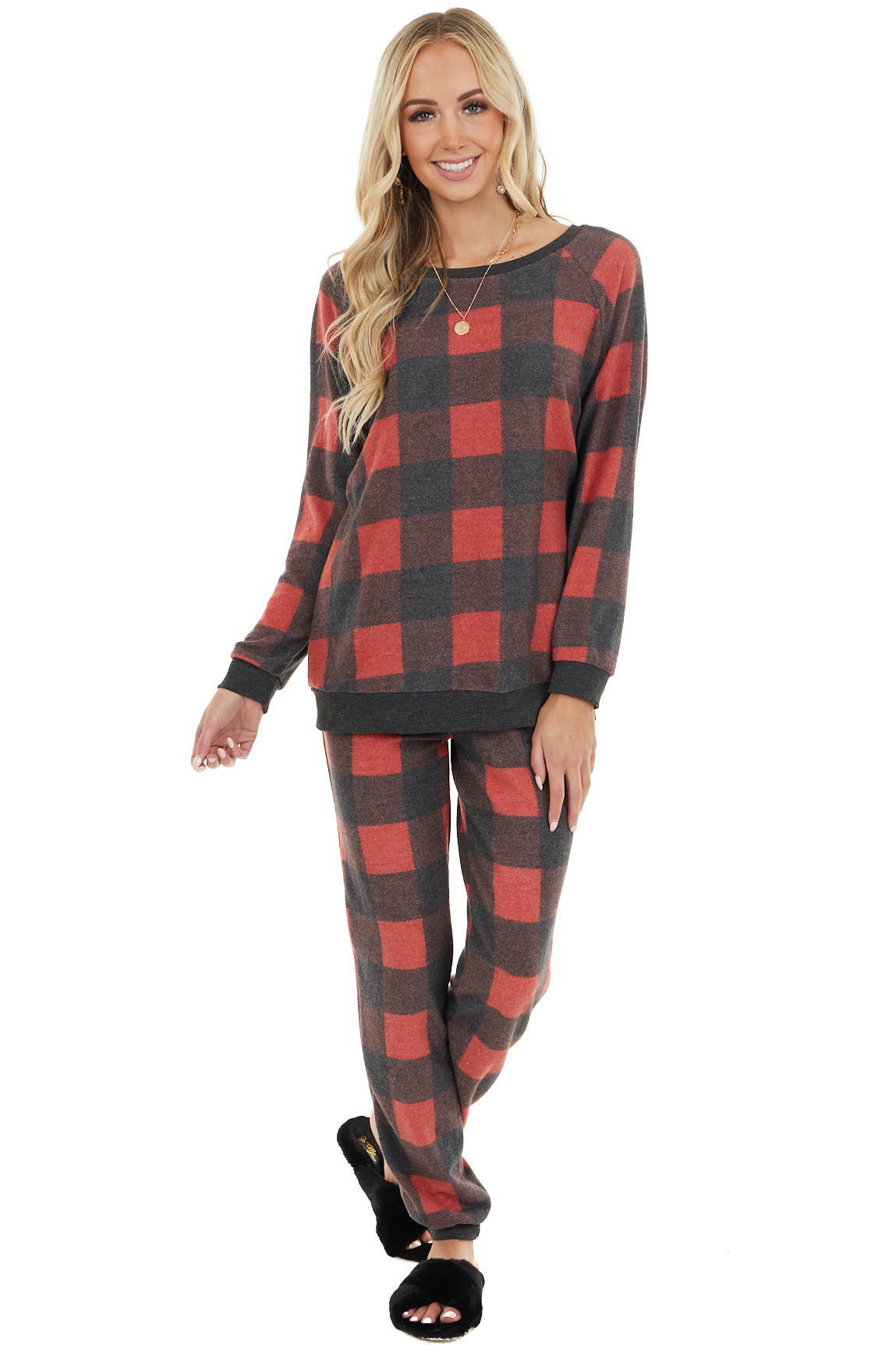 Candy Apple Red Buffalo Plaid Long Sleeve Top and Jogger Set