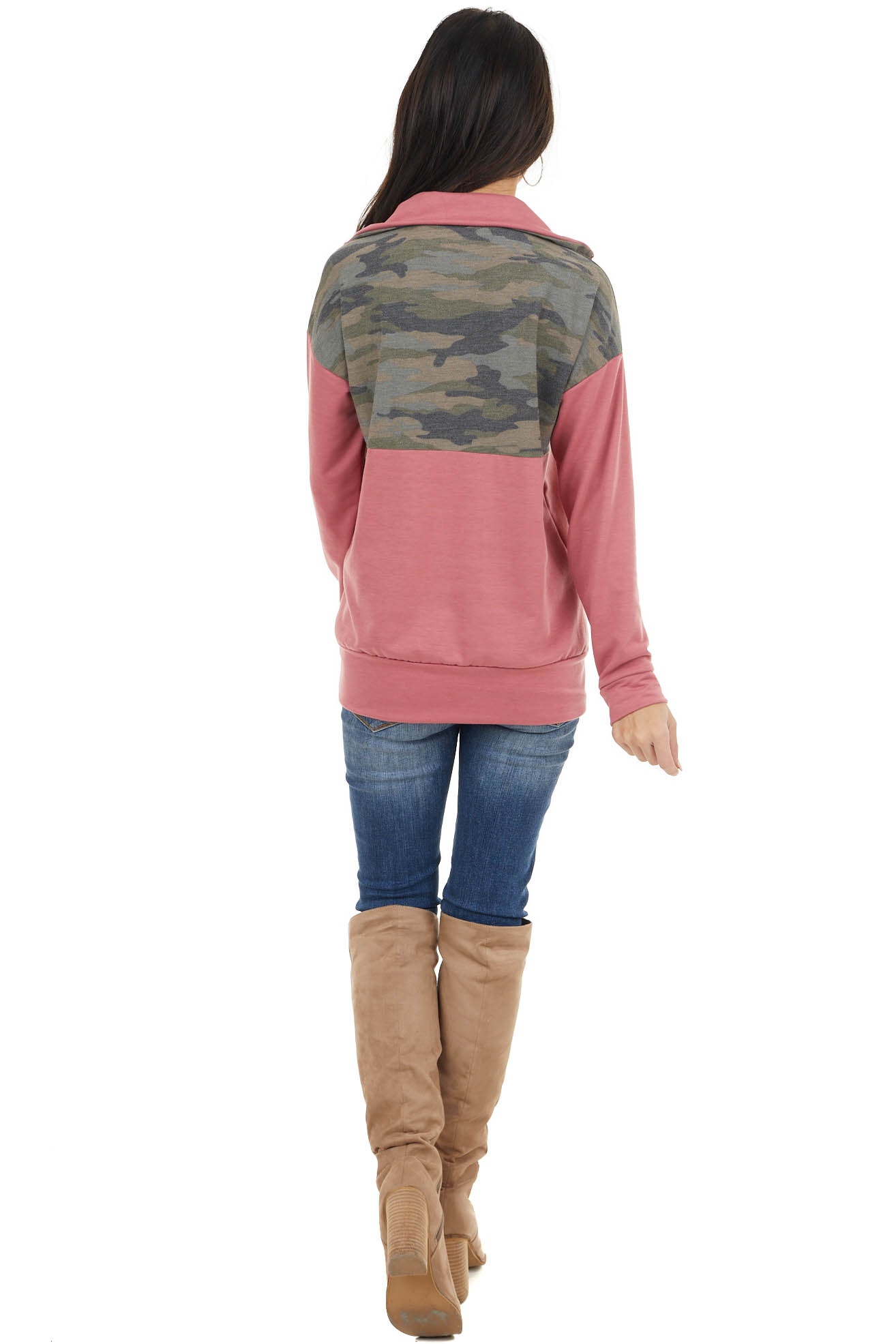 Dusty Rose and Camo Long Sleeve Pullover with Zipper Detail