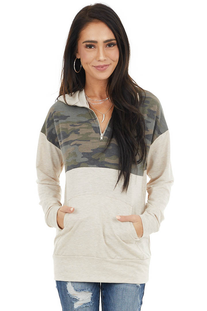 Oatmeal and Camo Long Sleeve Pullover with Zipper Detail