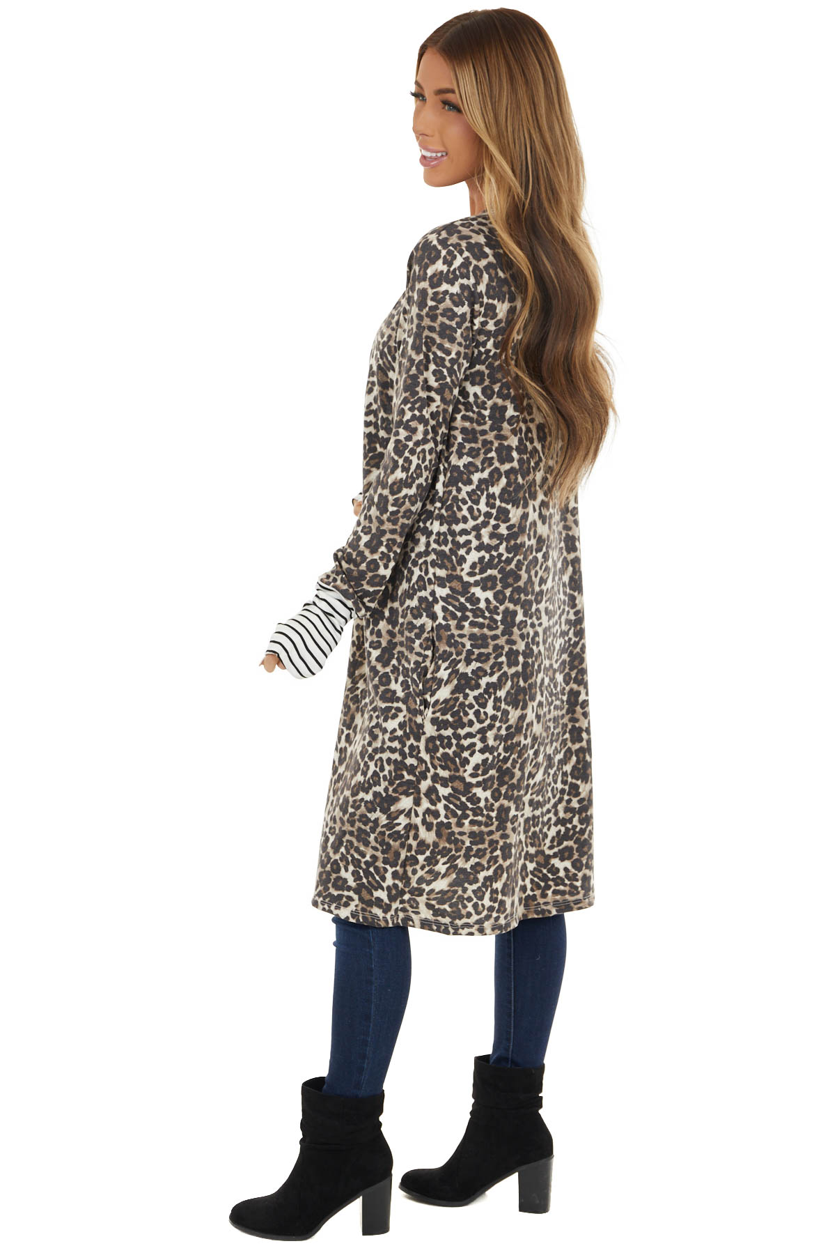 Oatmeal Leopard Print Cardigan with Striped Contrasts