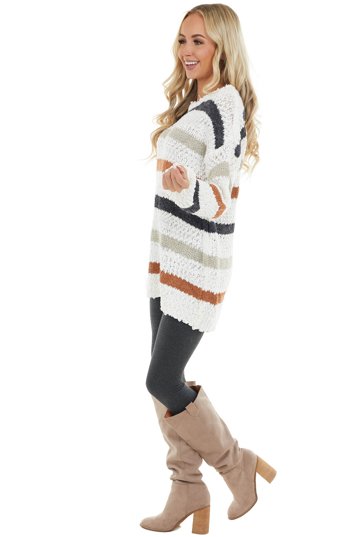 Ivory and Multicolor Striped Print Textured Knit Sweater