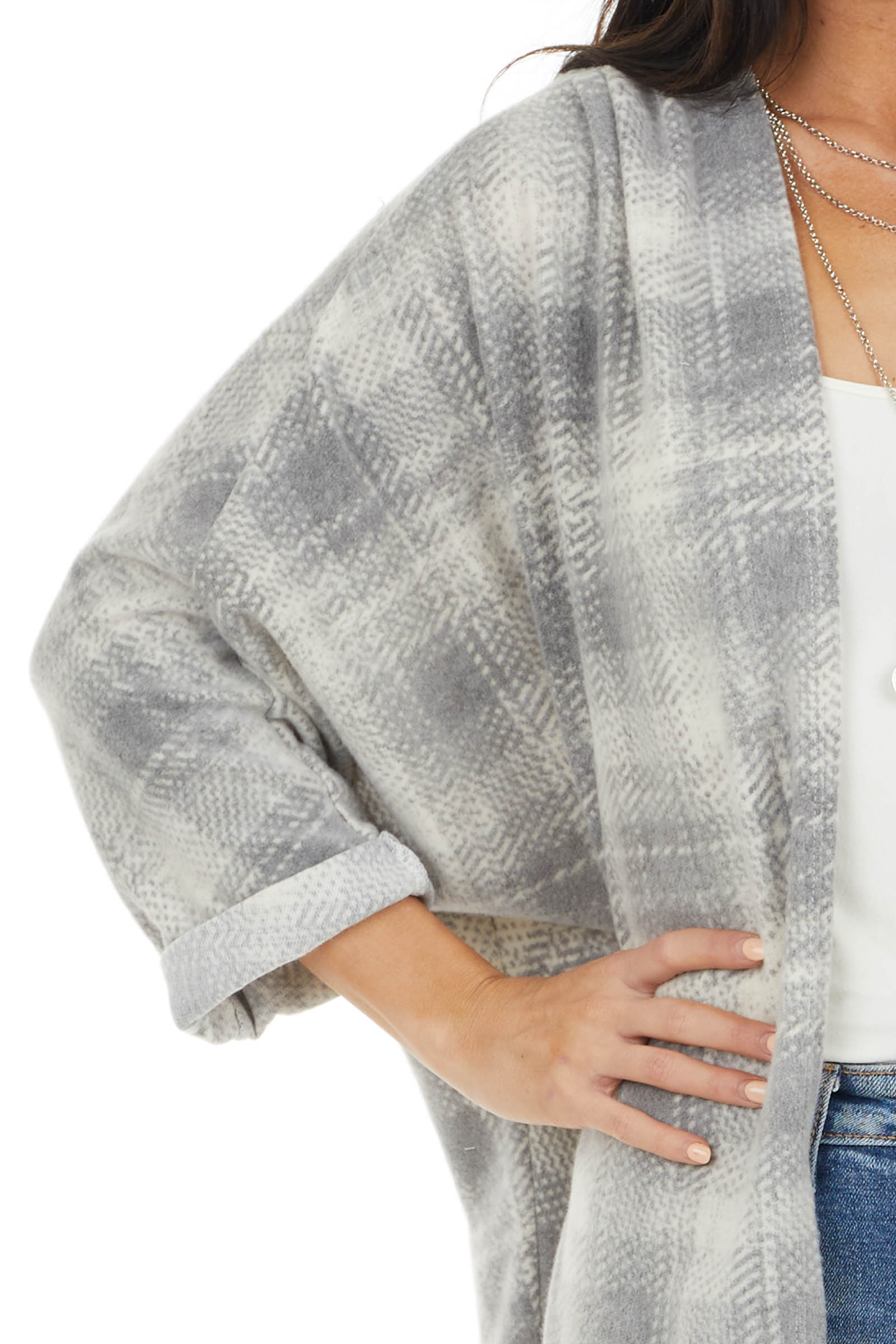 Ash and Ivory Plaid Cardigan with 3/4 Length Dolman Sleeves