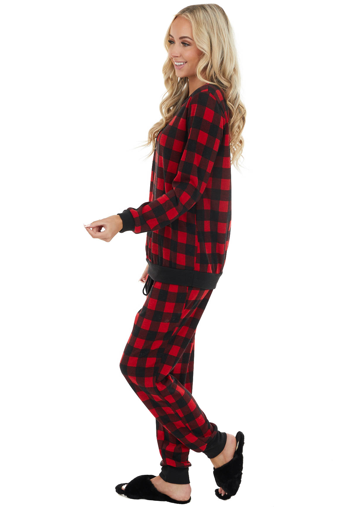 Cranberry Red and Black Buffalo Plaid Long Sleeve Knit Top