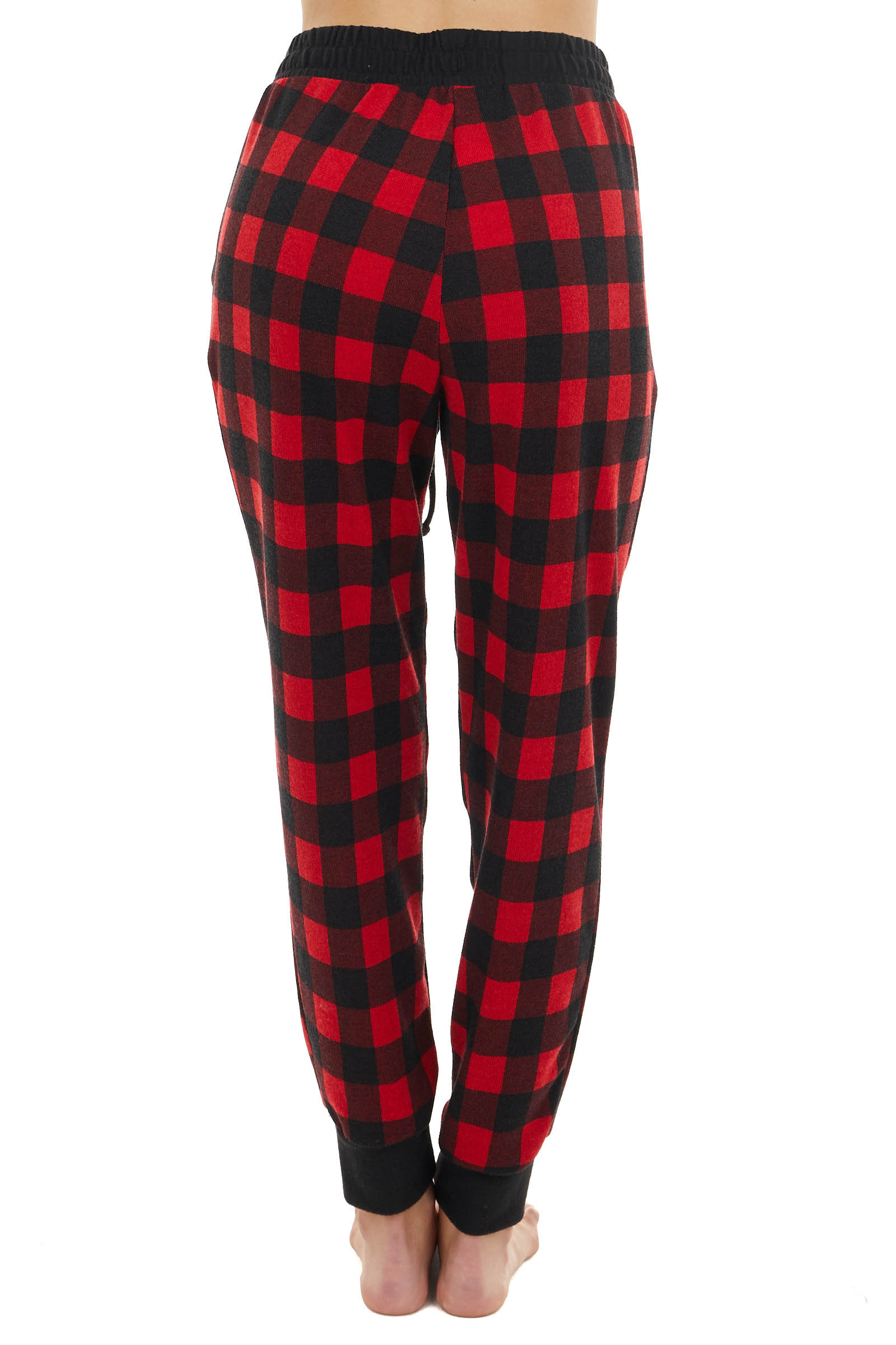 Cranberry Red and Black Buffalo Plaid Joggers with Pockets