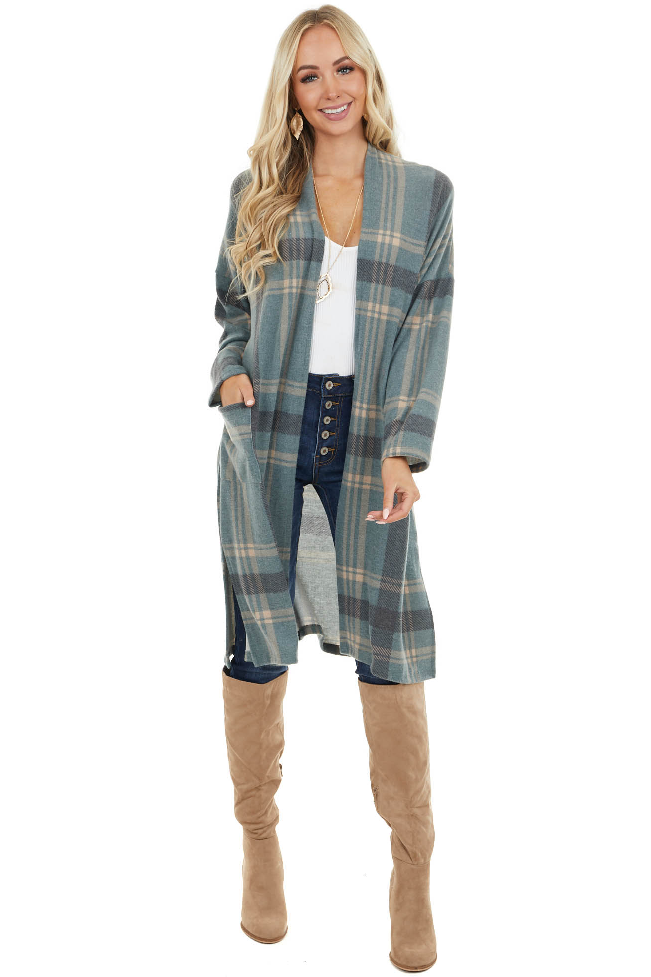 Dusty Pine Plaid Long Sleeve Cardigan with Pockets
